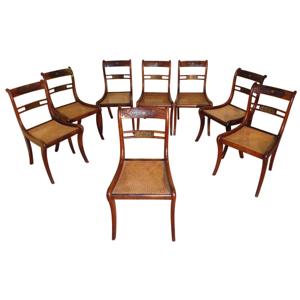 Set Of 8 Regency Rosewood And Brass Inlaid Dining Chairs Antique Photo