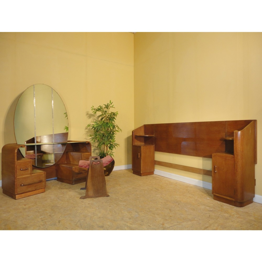 Art Deco Dressing Table, Stool & Bed Bedroom Suite