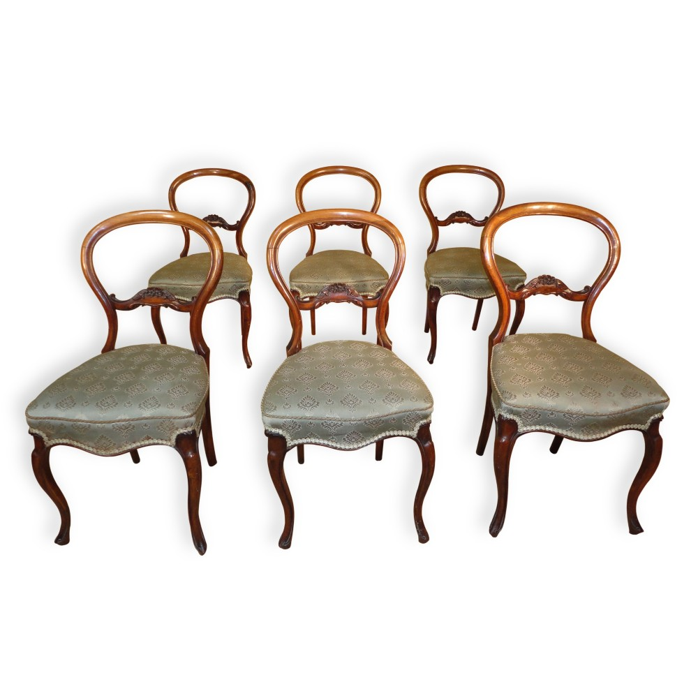 set of six antique victorian balloon back dining chairs by charles roodhouse 6