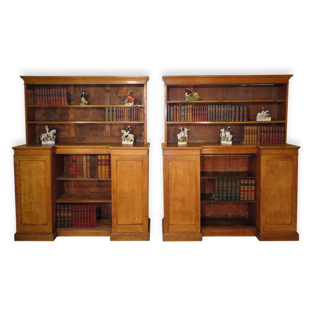 antique pair of arts crafts oak bookcases