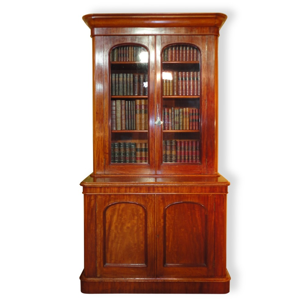 antique victorian mahogany two door bookcase