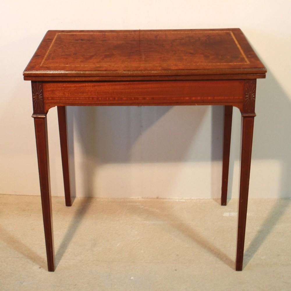 Edwardian sheraton style mahogany card table