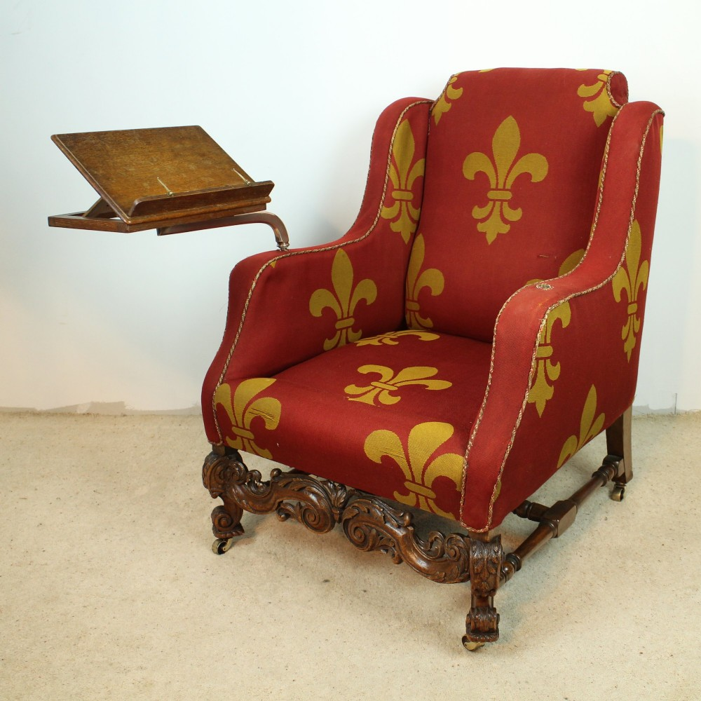 a 19th century carved oak wingback reading chair - A 19th Century Carved Oak Wingback Reading Chair 351315