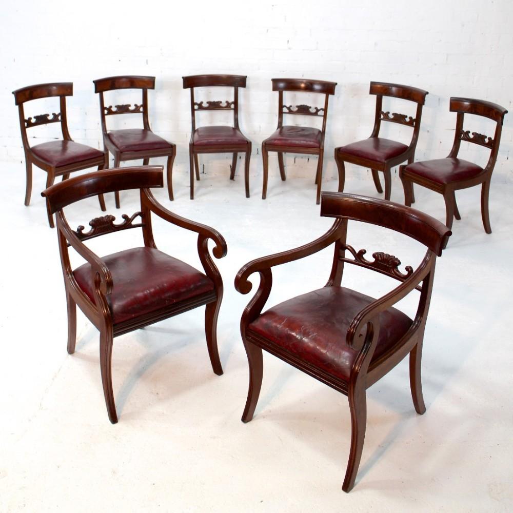 set of eight regency mahogany dining chairs 8
