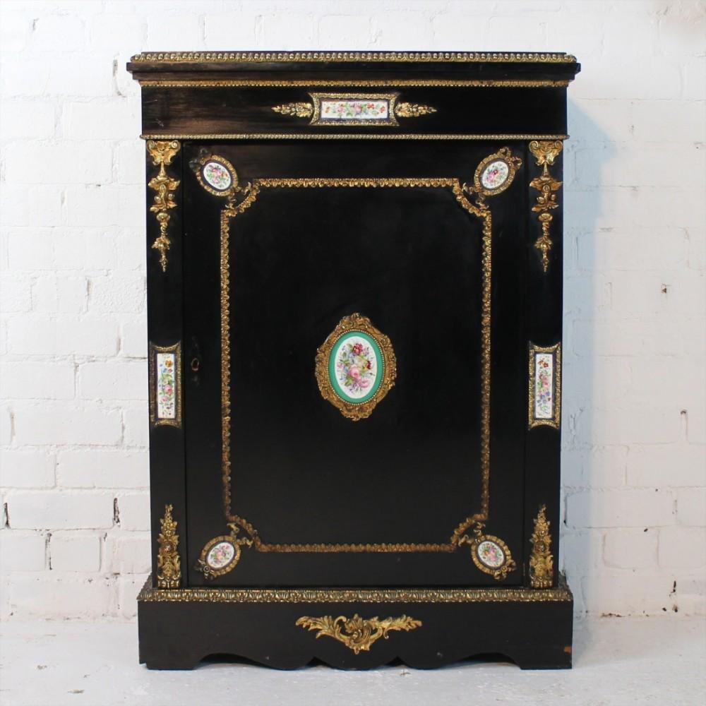 victorian giltmetal porcelain mounted ebonised pier cabinet