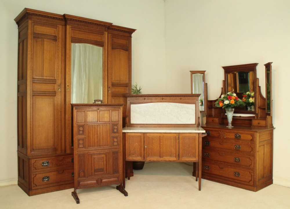 Arts & Crafts Oak Four Piece Bedroom Suite, Attributed To ...