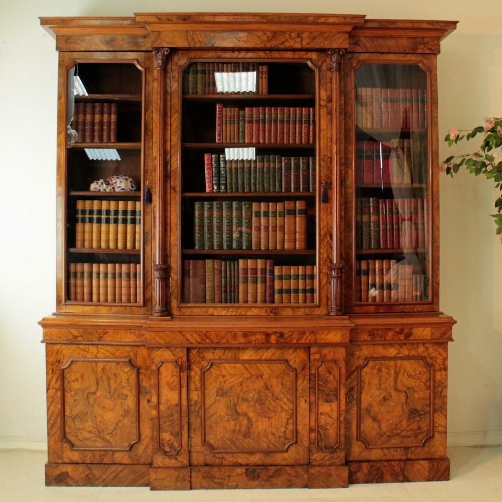 william iv burr walnut breakfront bookcase
