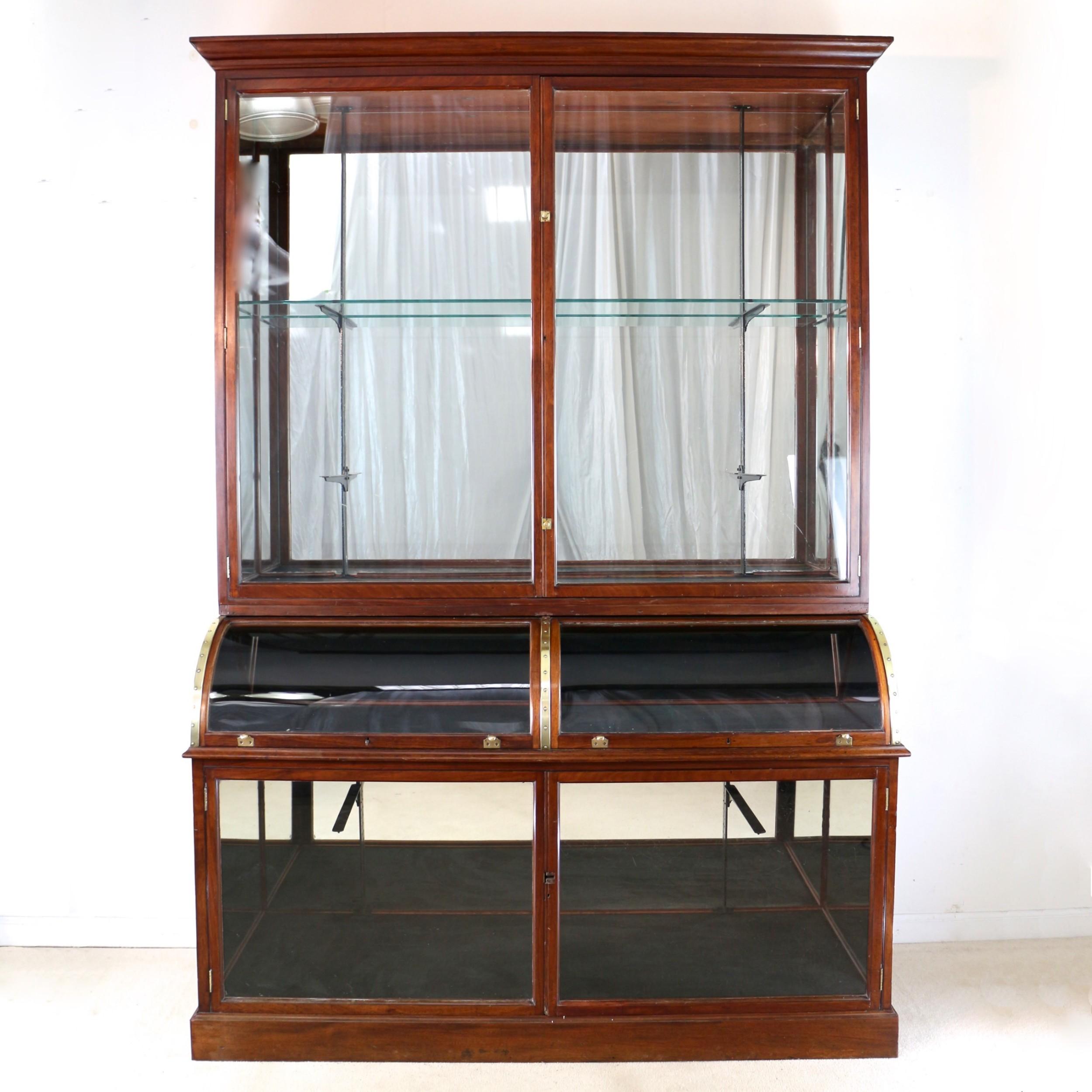victorian mahogany shop or jewellery display cabinet