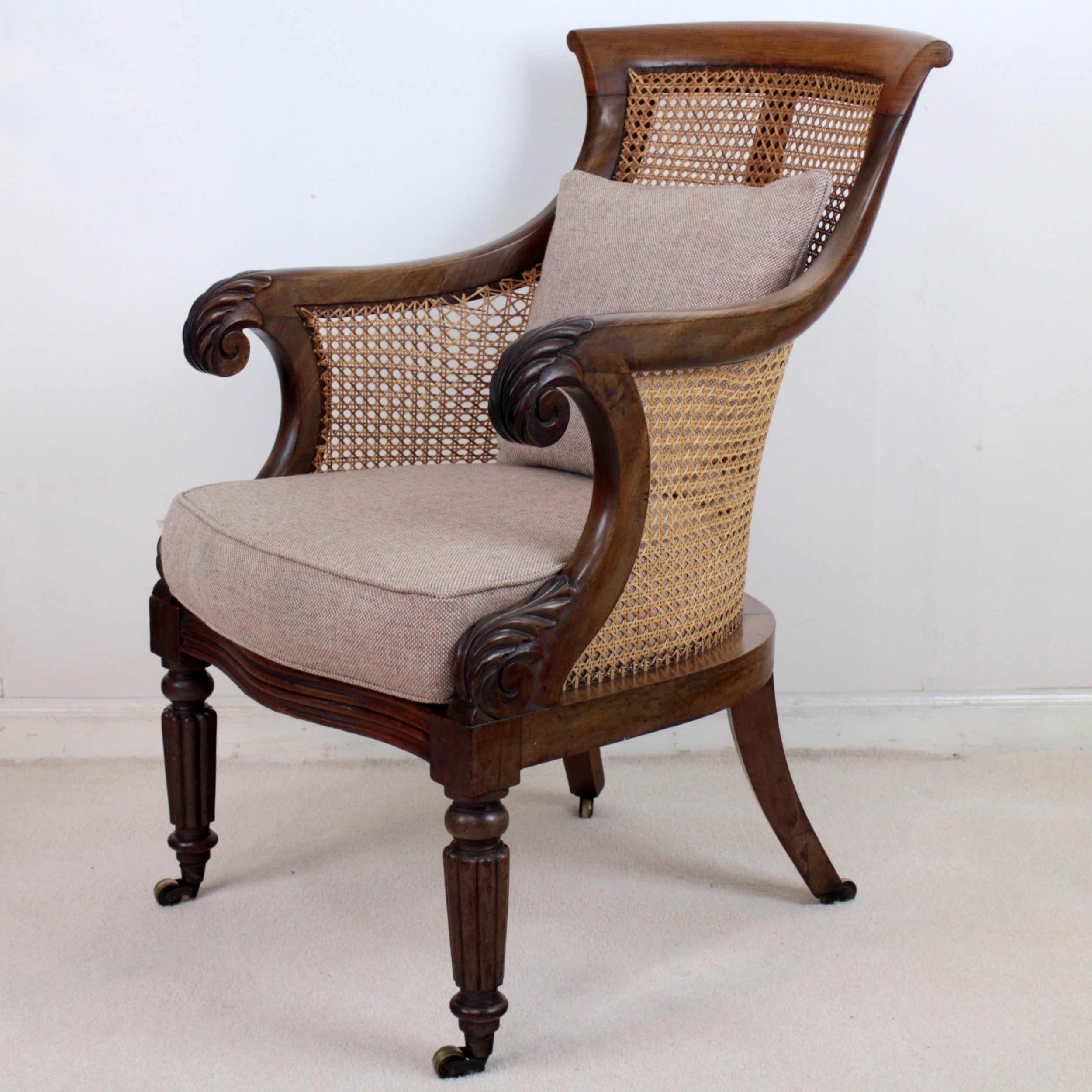 Regency Mahogany Cane Filled English Library Or Bergre Chair