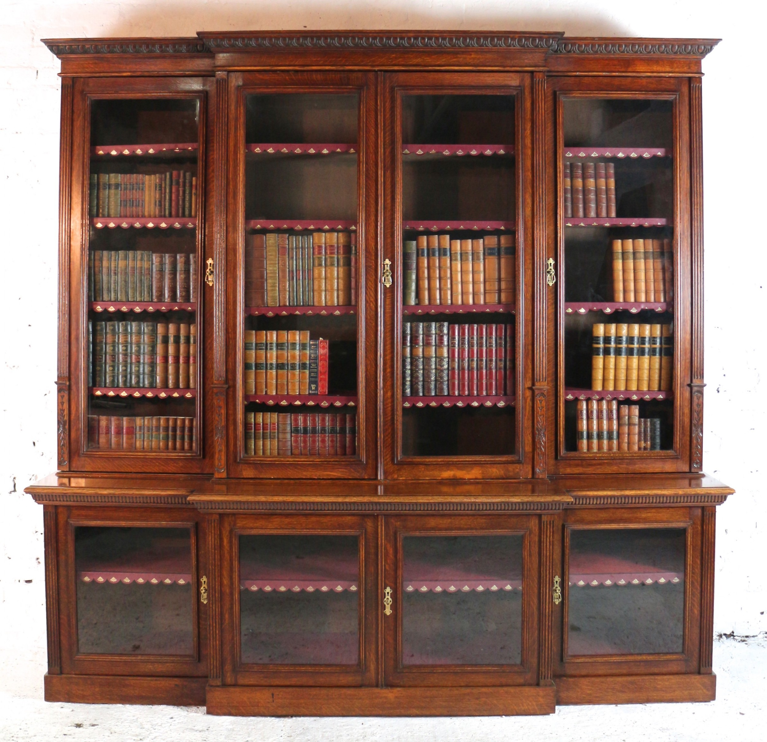 large victorian oak breakfront bookcase attributed to maple co