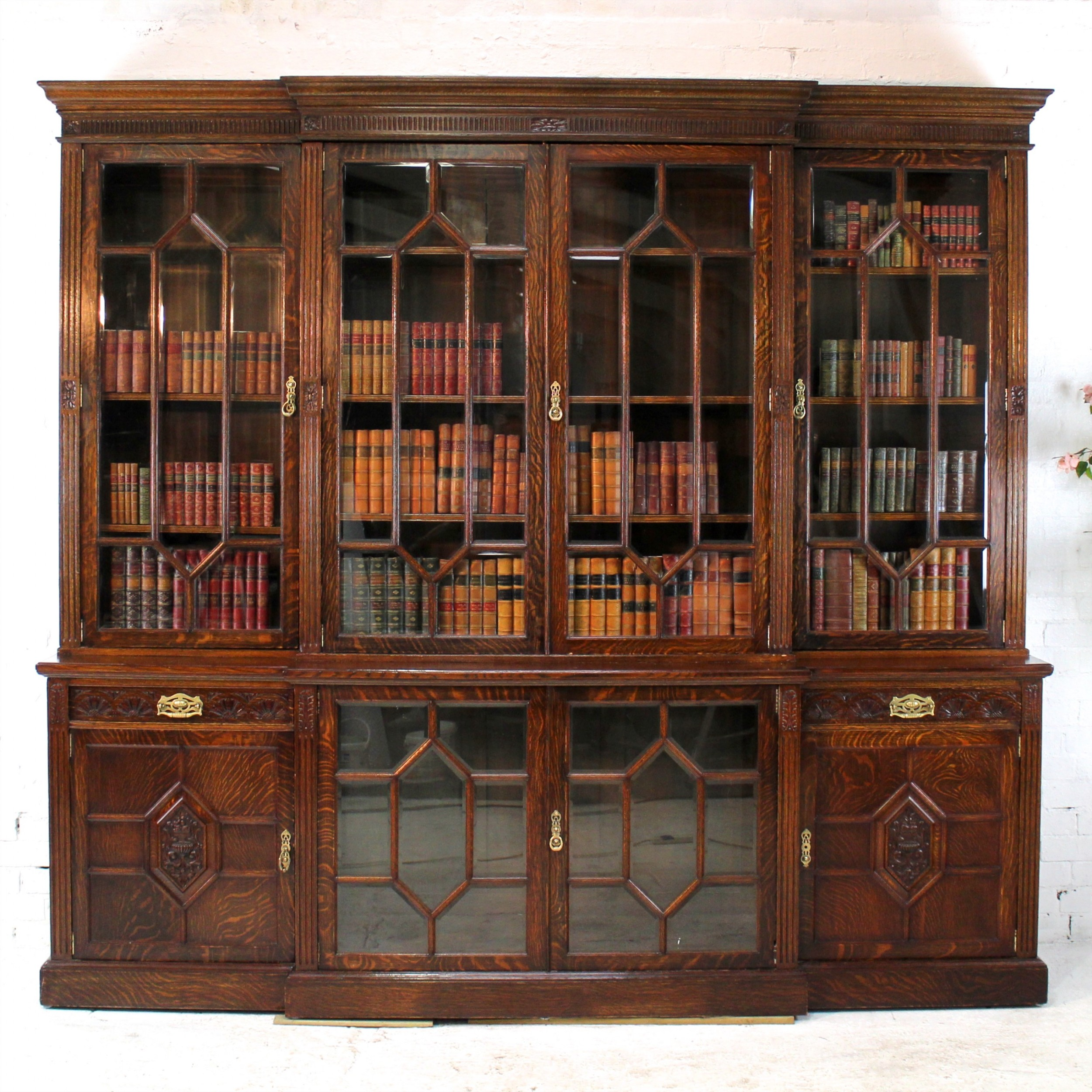 maple co large victorian oak breakfront bookcase