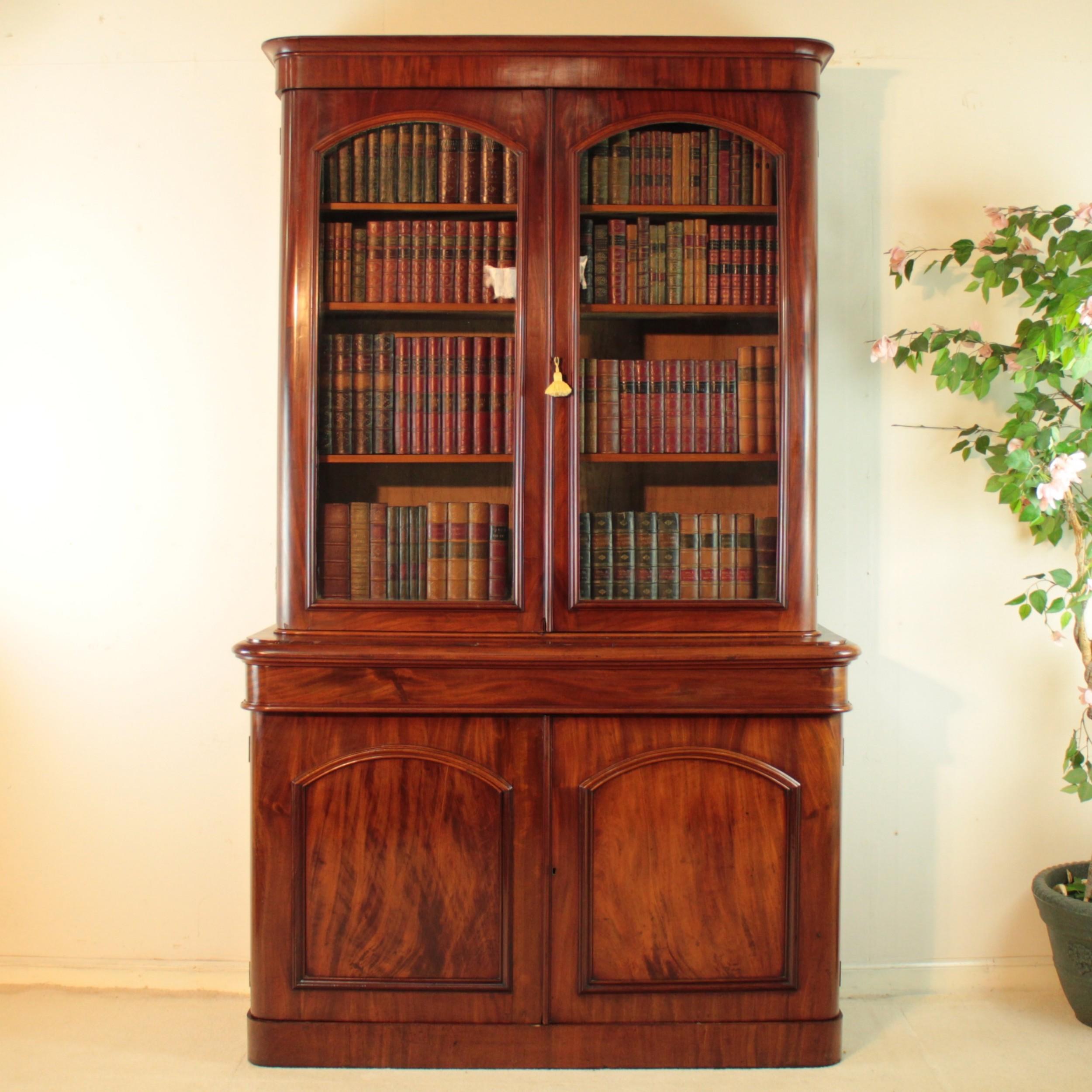 antique victorian mahogany two door bookcase