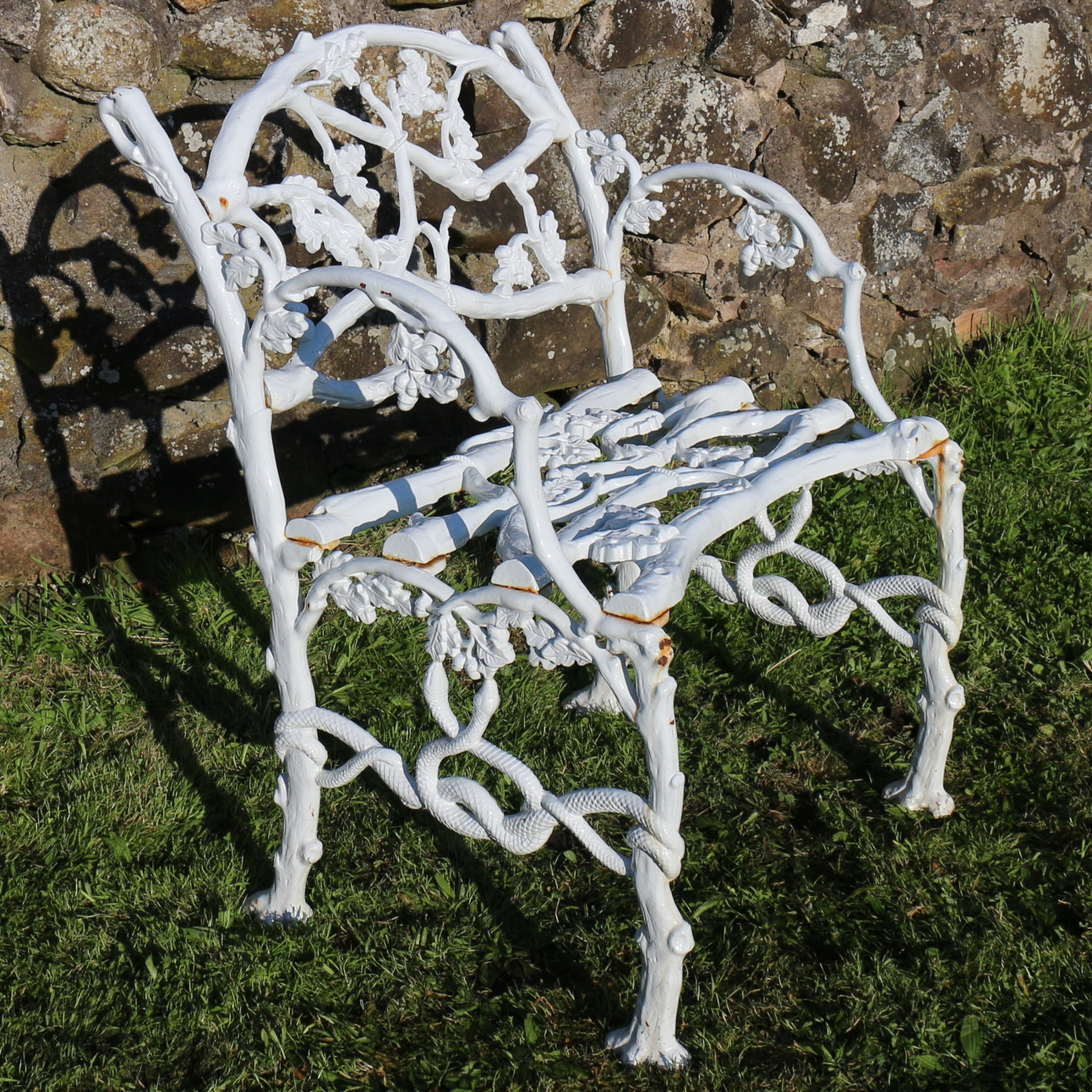 a victorian cast iron serpent twig pattern garden seat or bench circa 1860