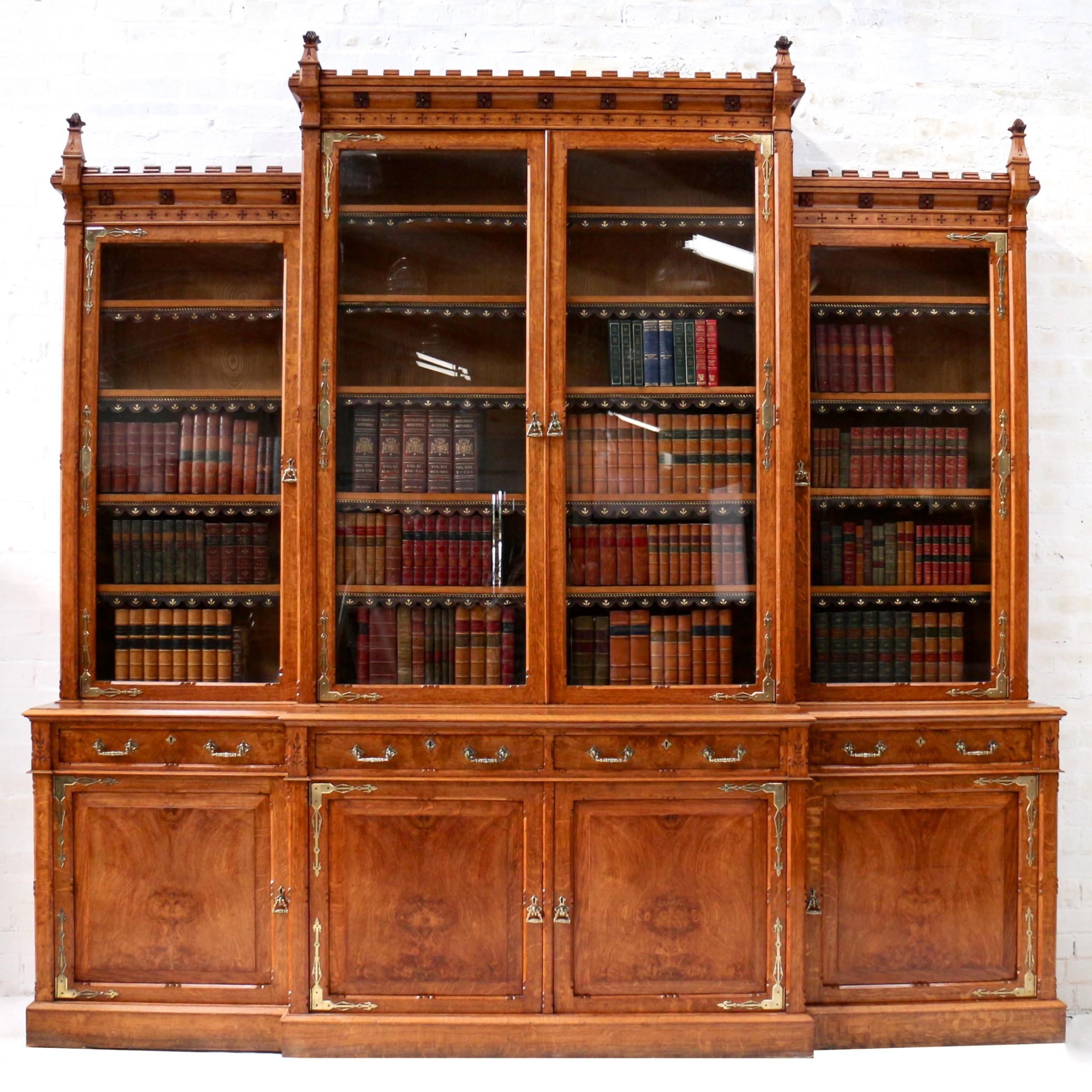 large victorian gothic revival oak and pollard oak breakfront bookcase