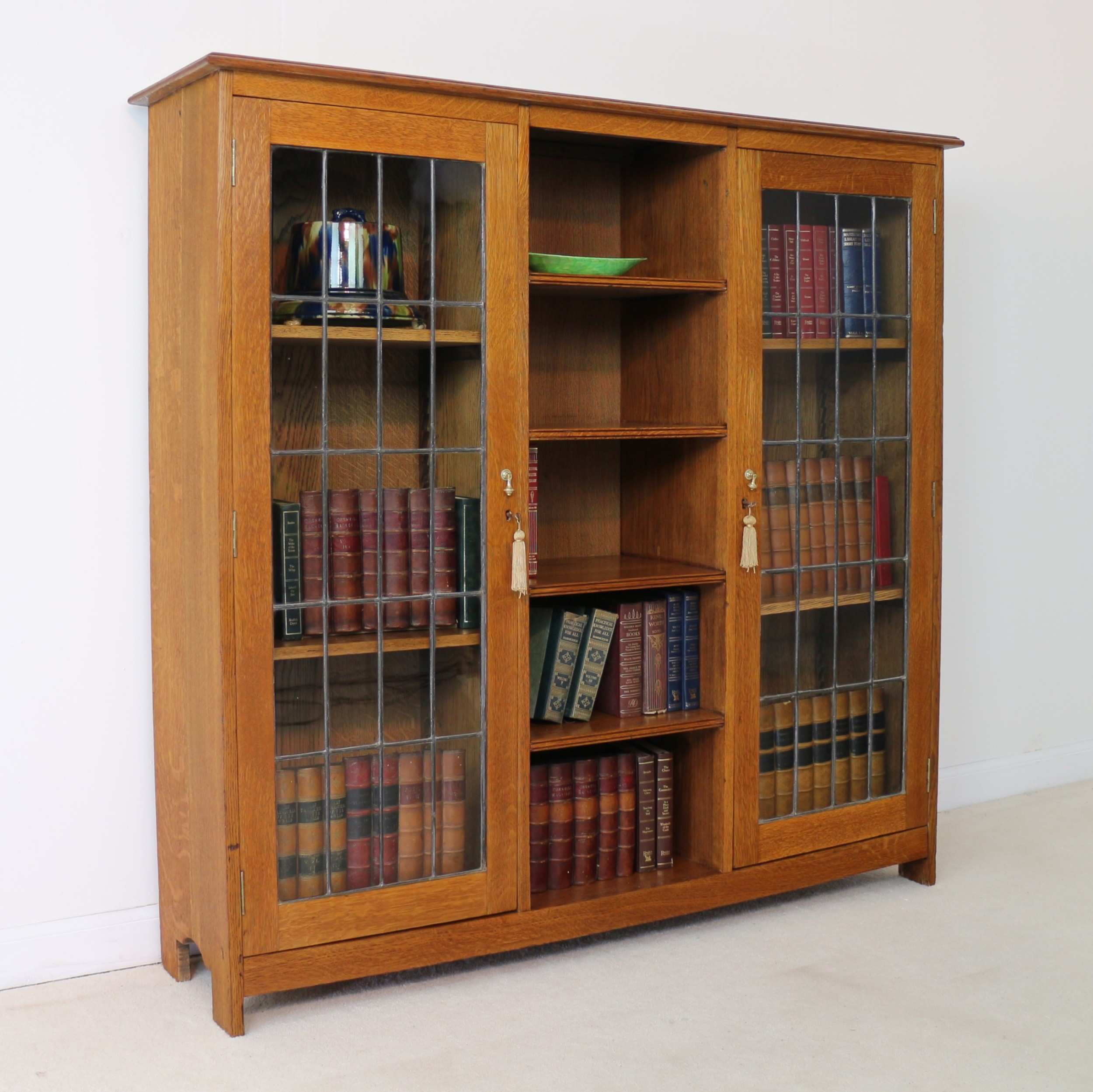 arts crafts oak bookcase cabinet attributed to liberty co