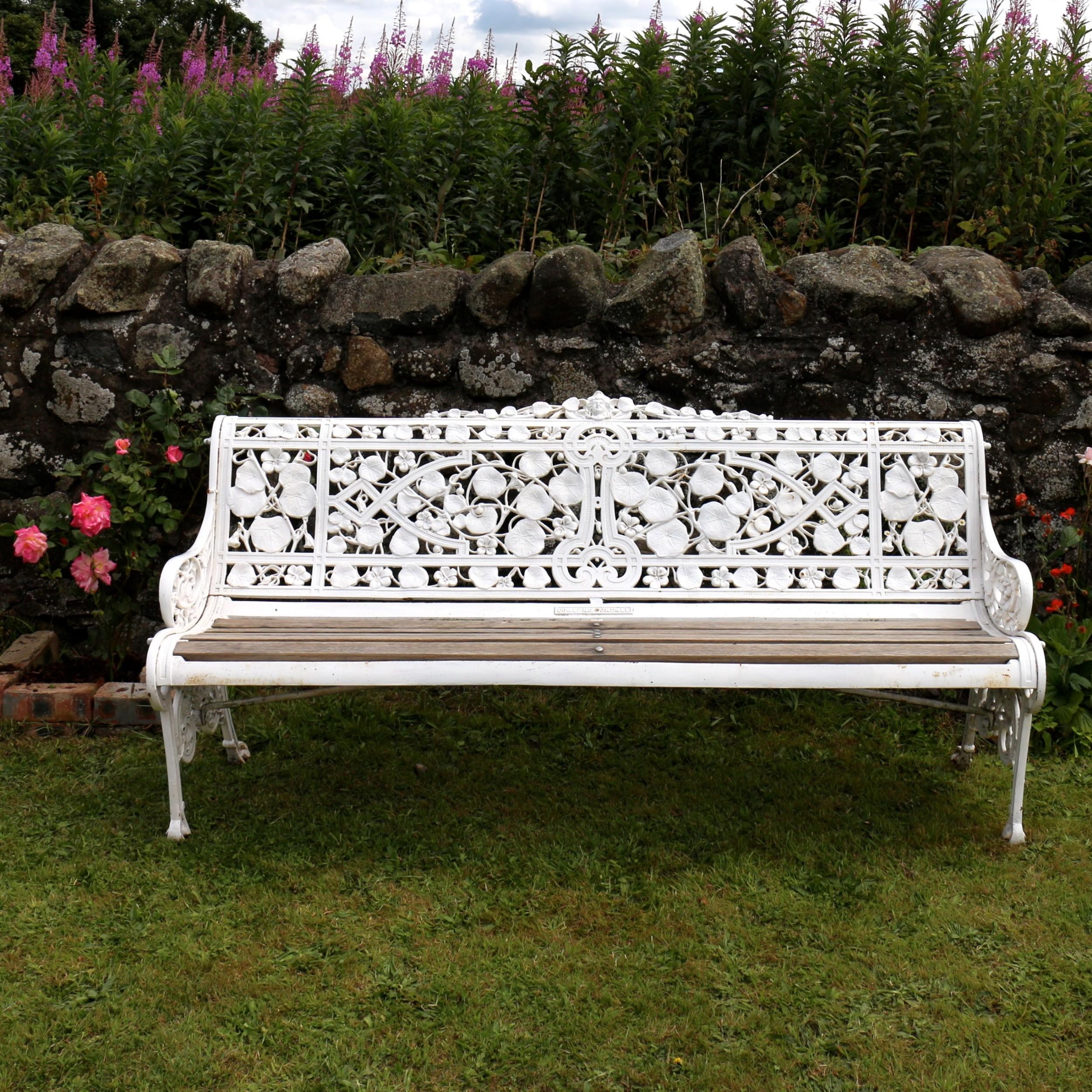 victorian coalbrookdale nasturtium pattern garden seatbench