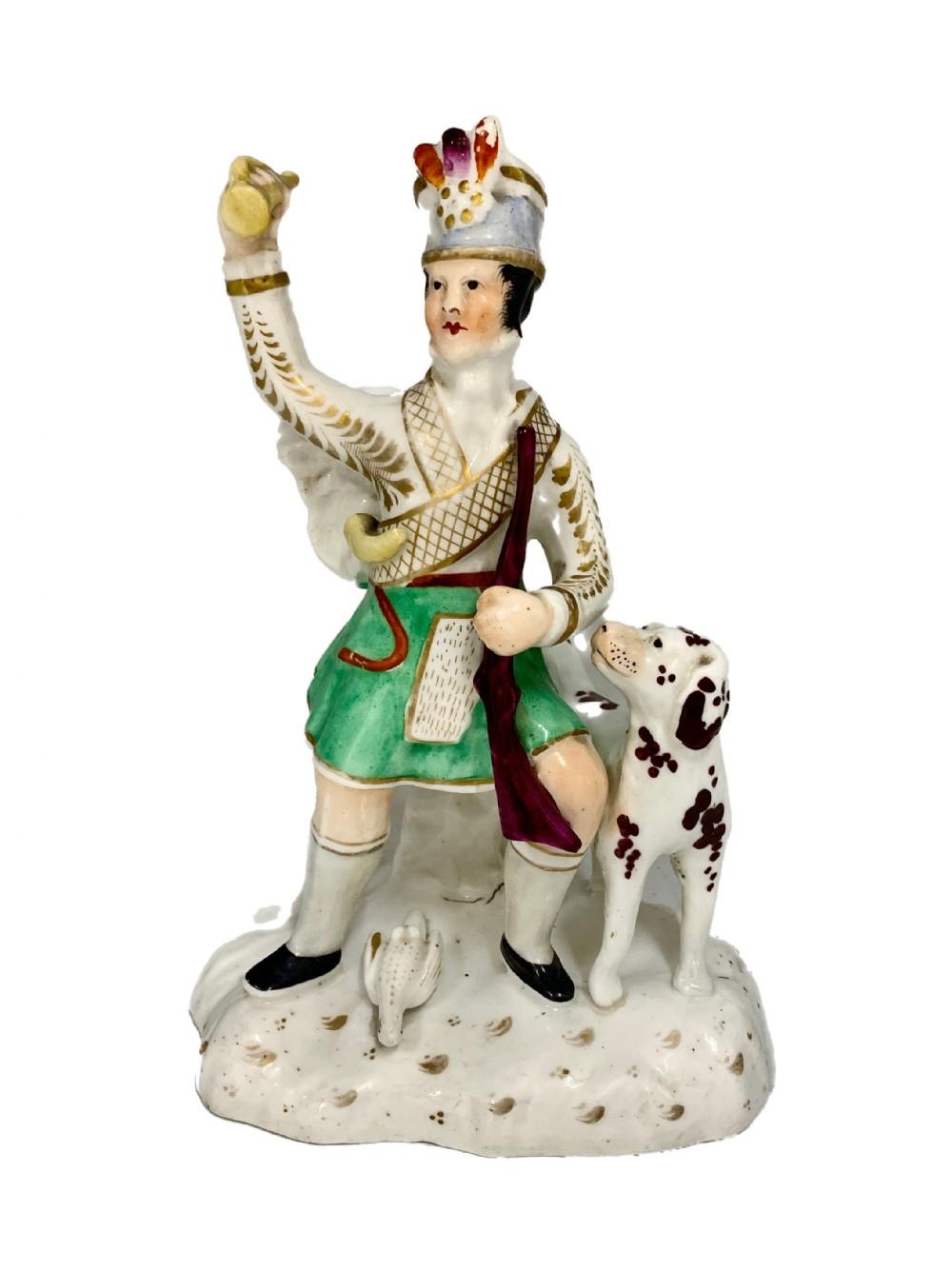 antique pottery scottish figurine with dog circa 1820