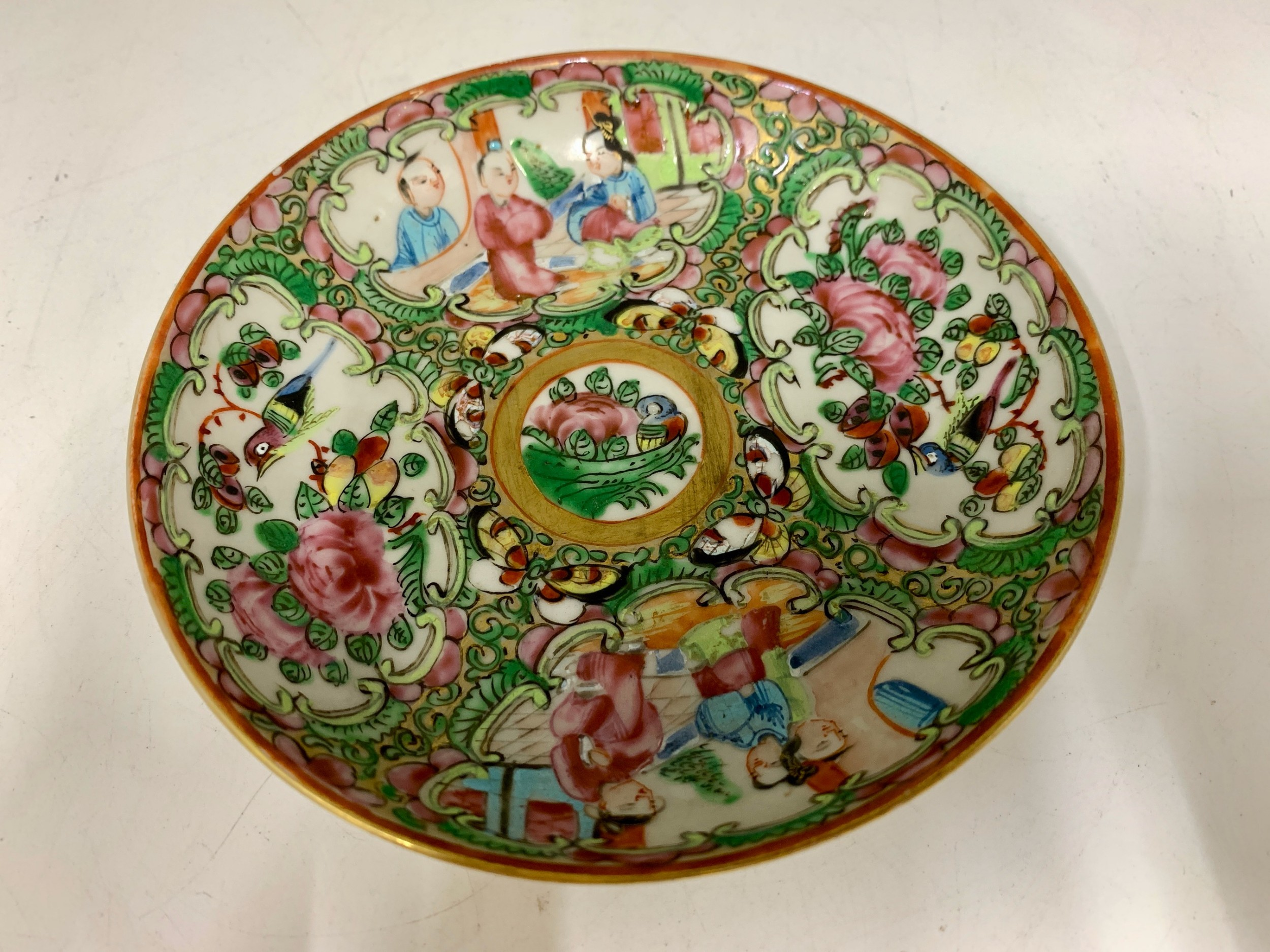 antique famille rose oriental porcelain saucer circa 1810