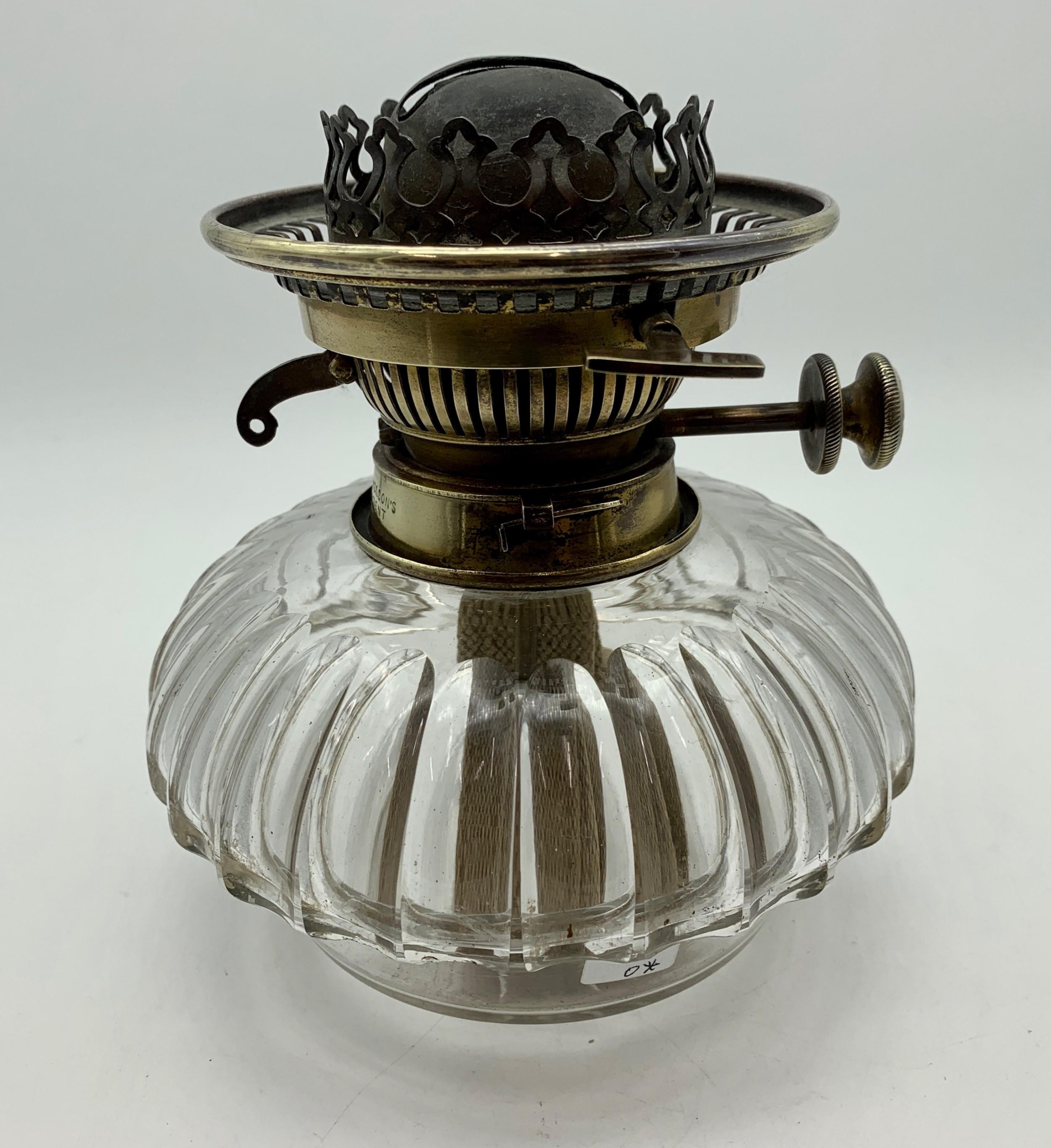 victorian cut crystal hinks no2 glass oil lamp circa 1890