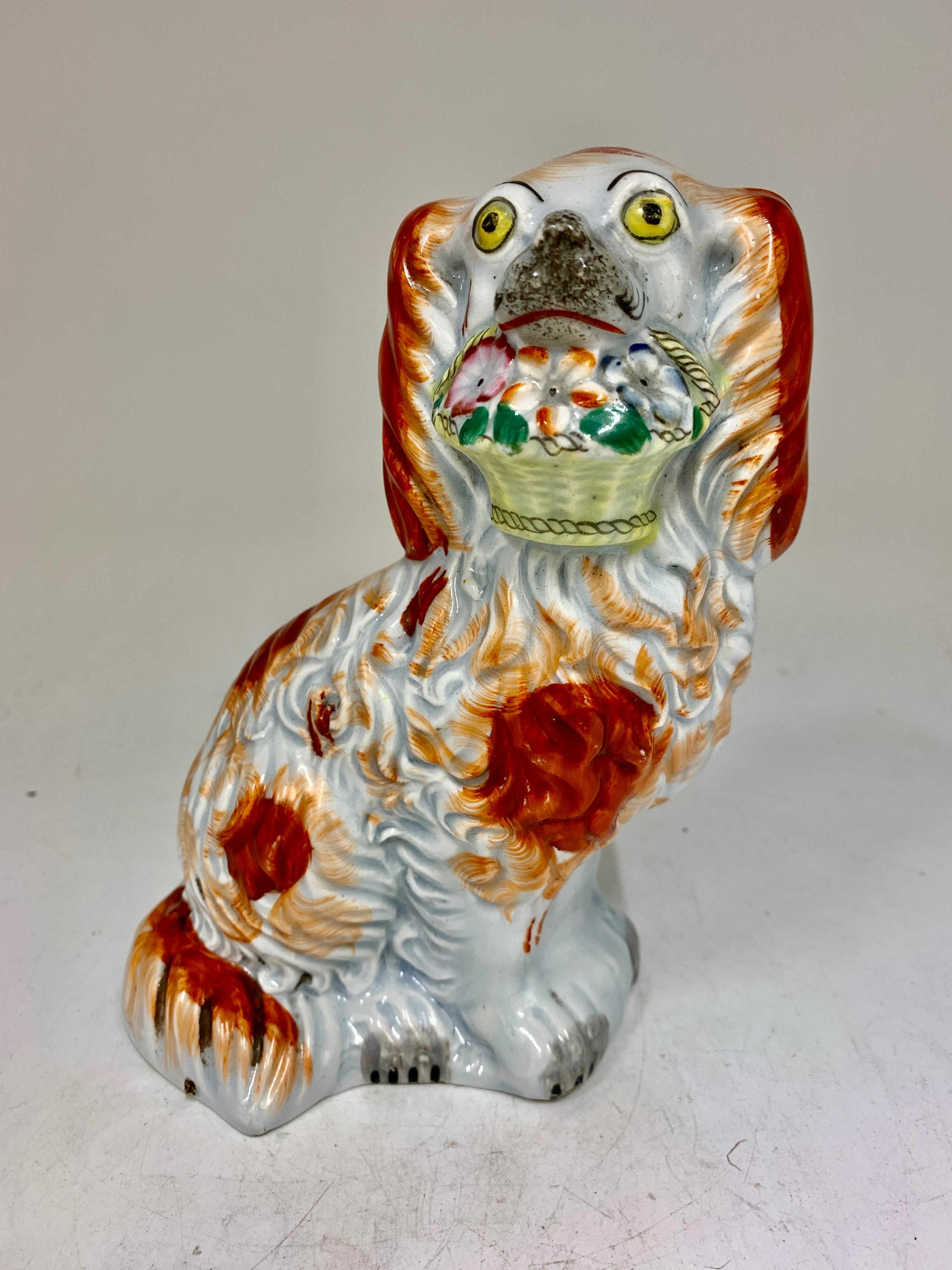 antique staffordshire pottery spaniel dog with flowers circa 1845
