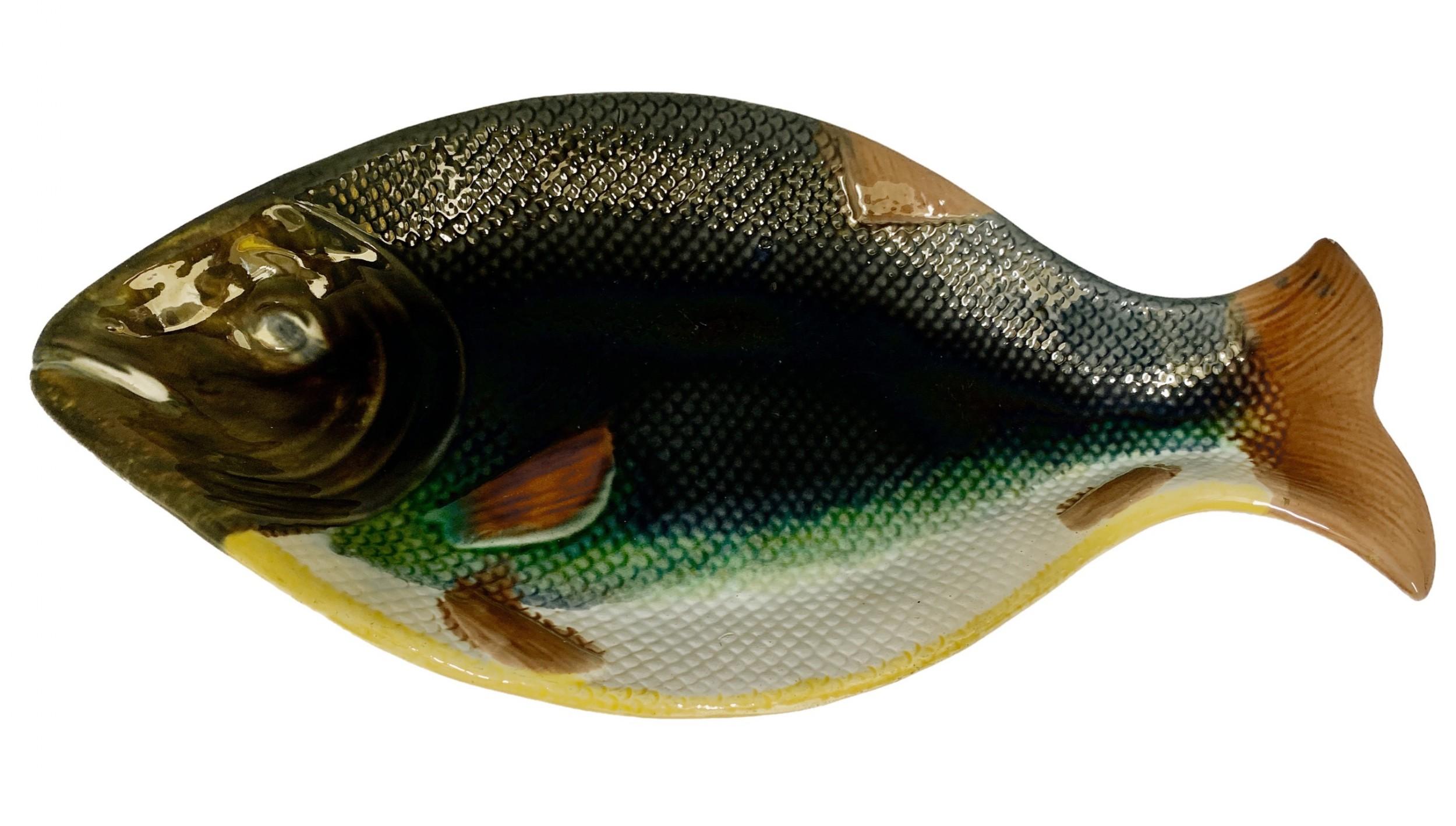 large victorian english majolica fish serving platter circa 1875