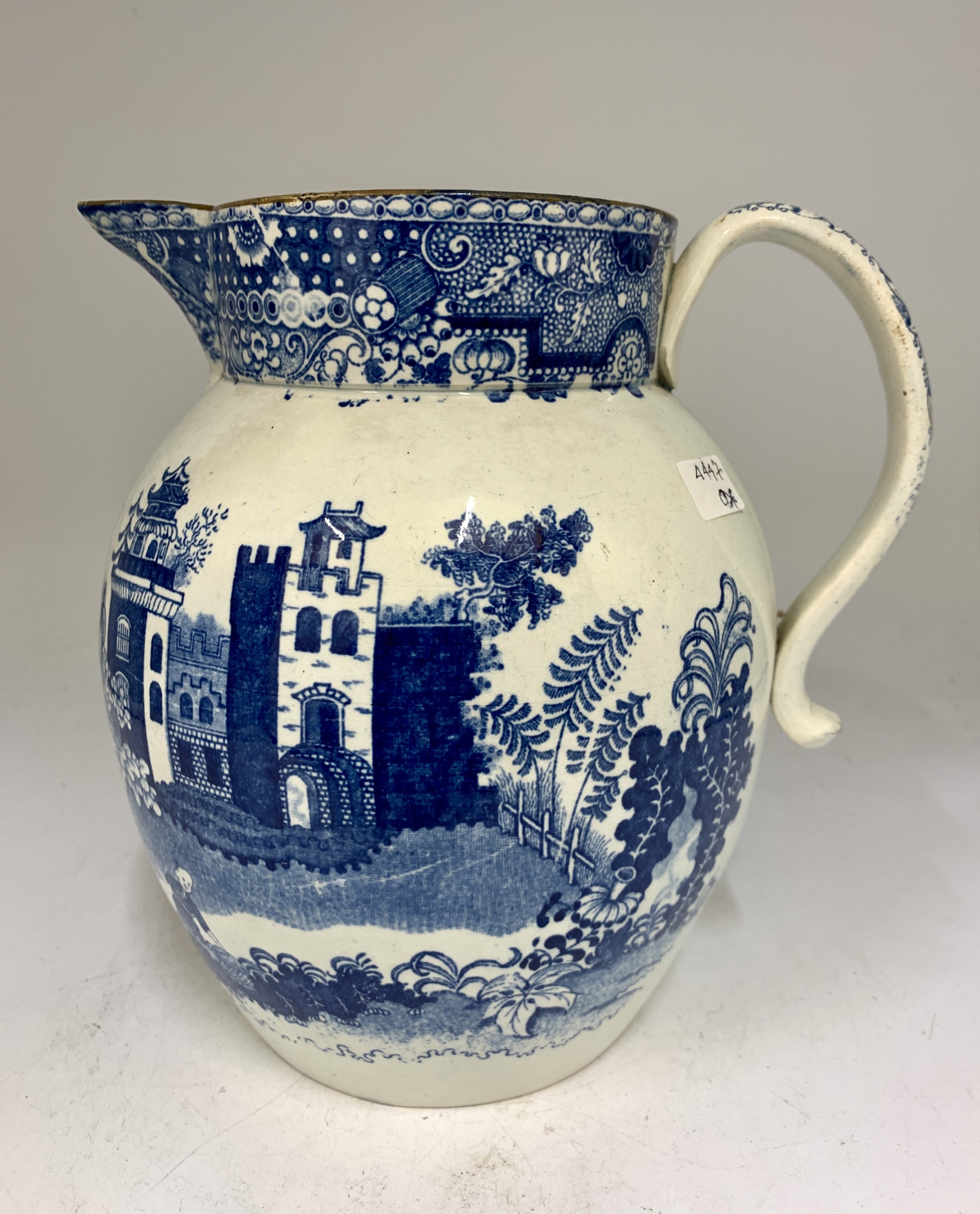 antique georgian pearlware blue white pottery jug circa 1800