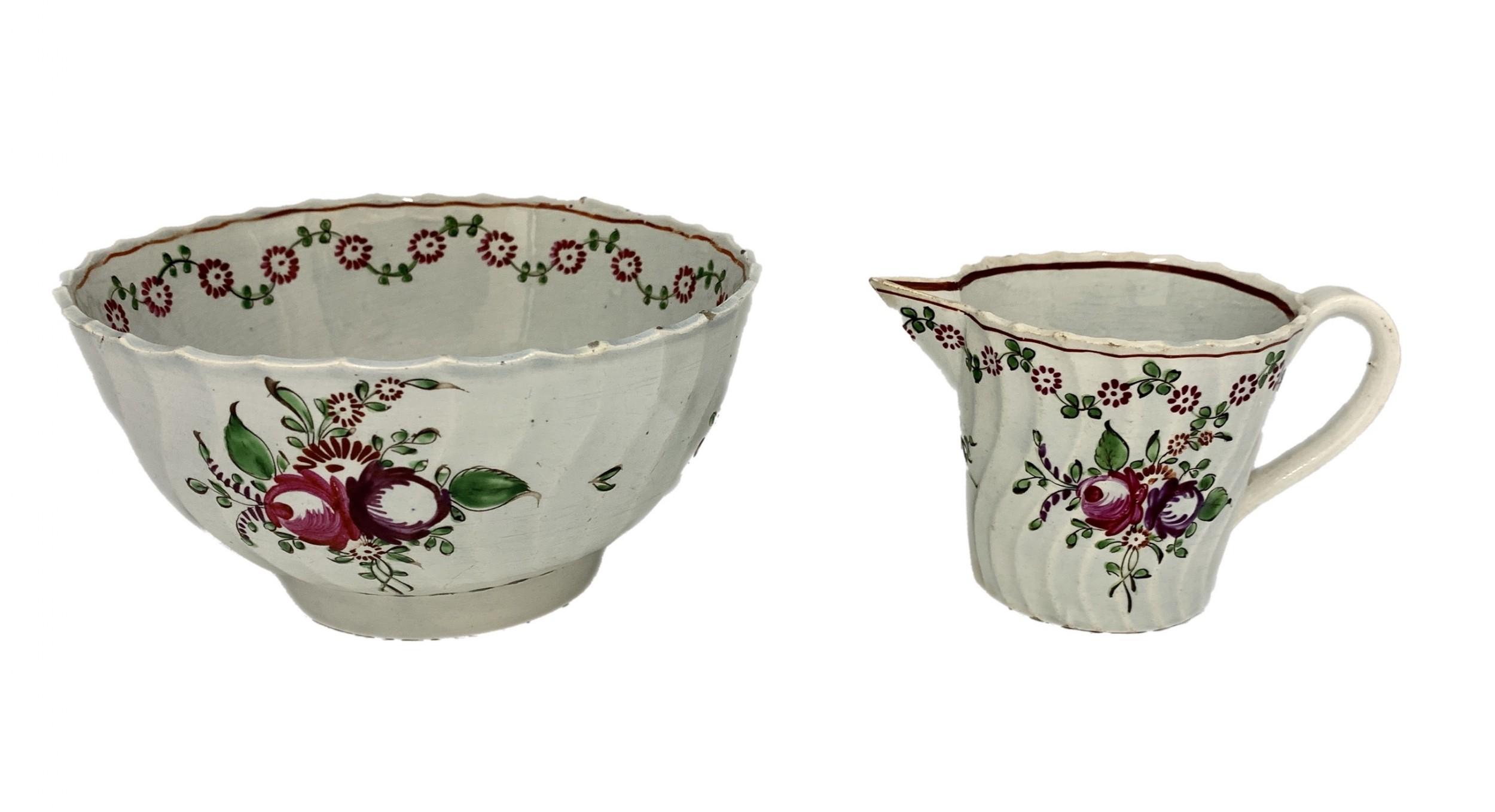antique pearlware sugar basin cream jug circa 1800