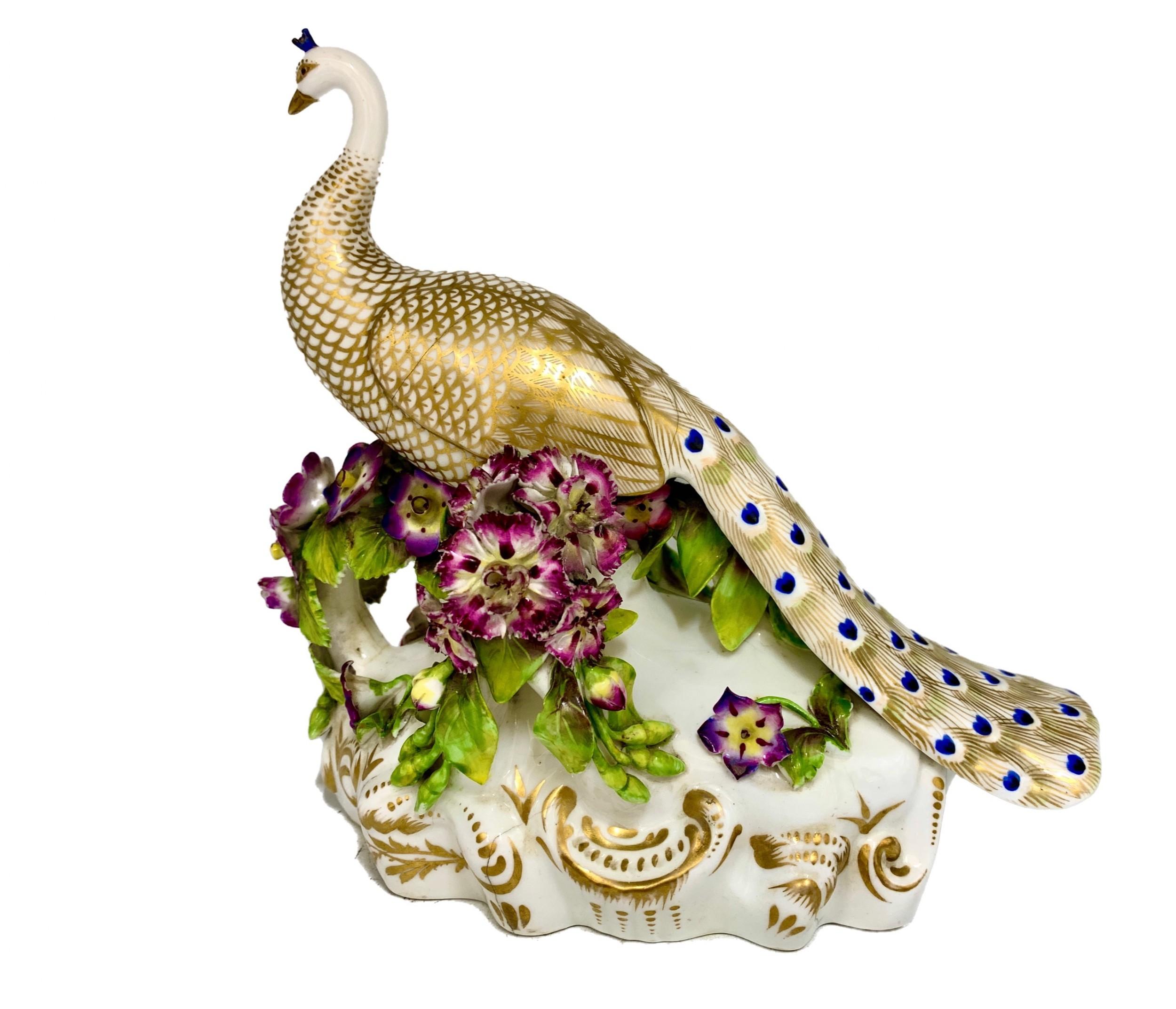 antique stevenson hancock derby porcelain peacock figurine circa 1865