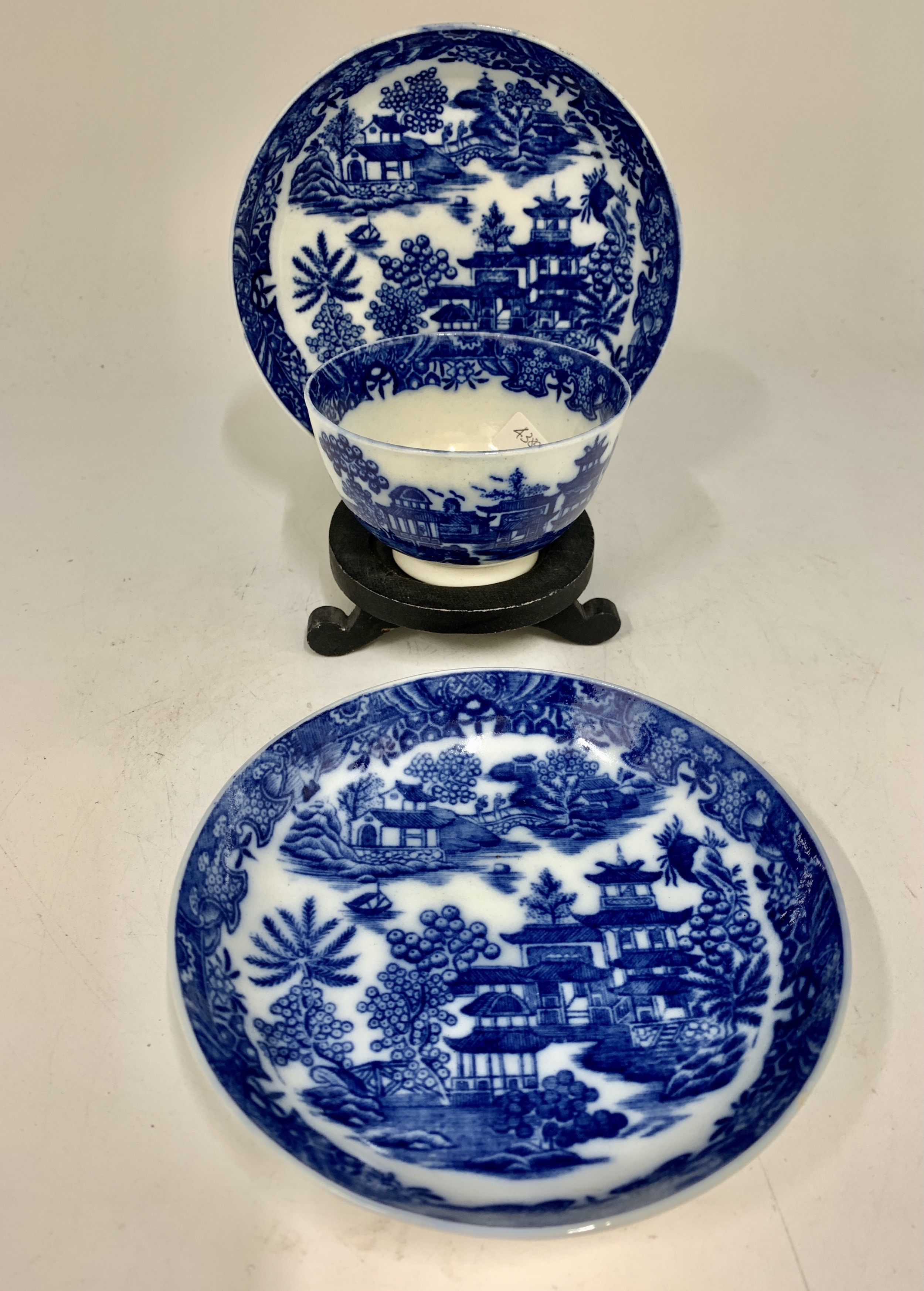 18 th century blue white pottery tea bowl and two saucers circa 1795