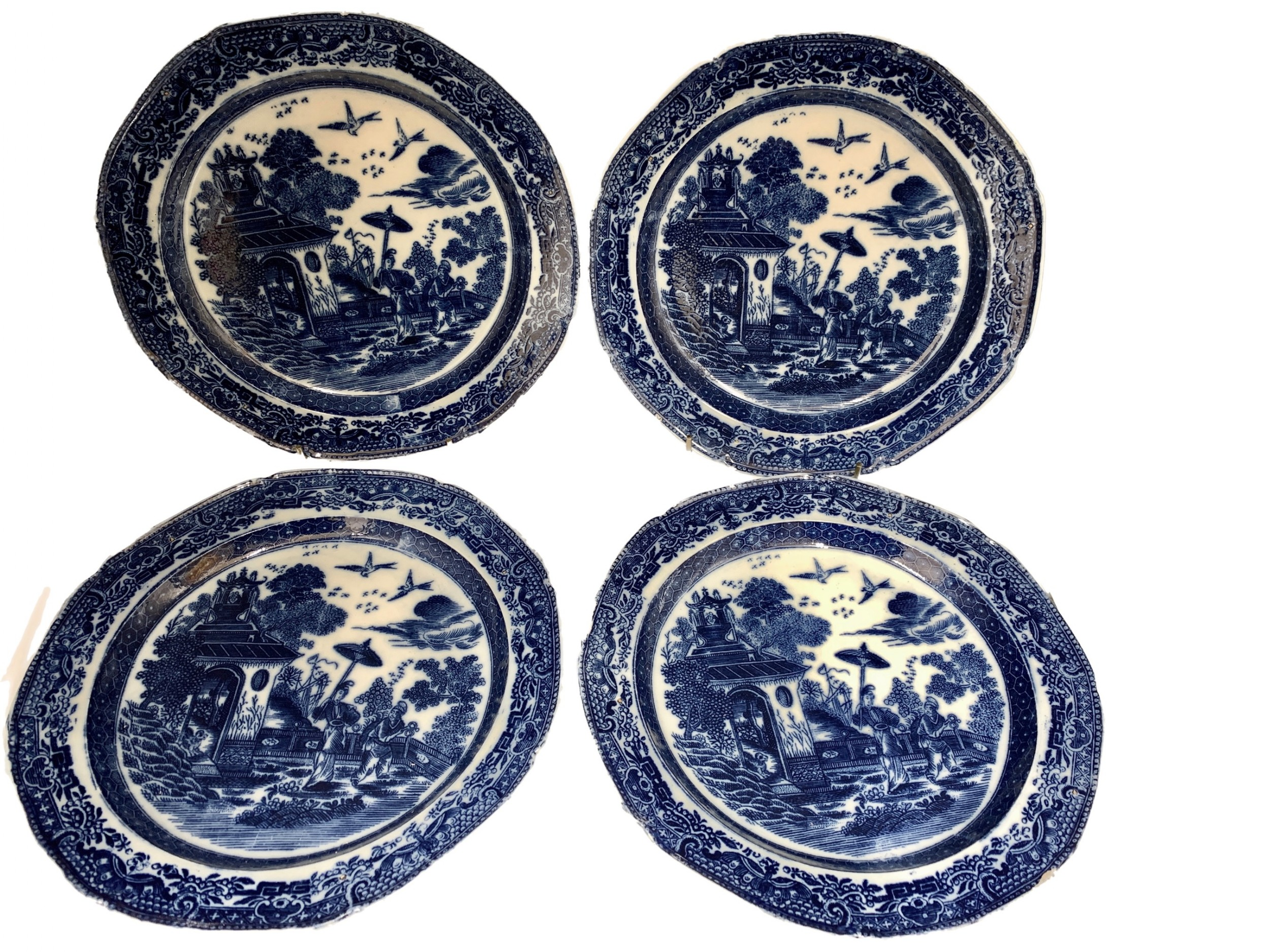 antique set four pearlware blue white transfer printed plates circa 1800