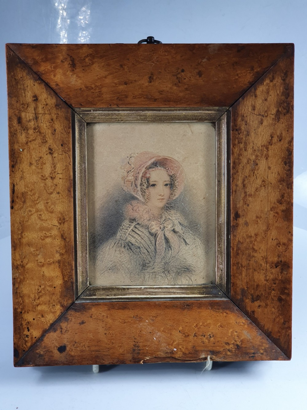 beautiful miniature watercolour in maple frame c1834 francis hargreaves