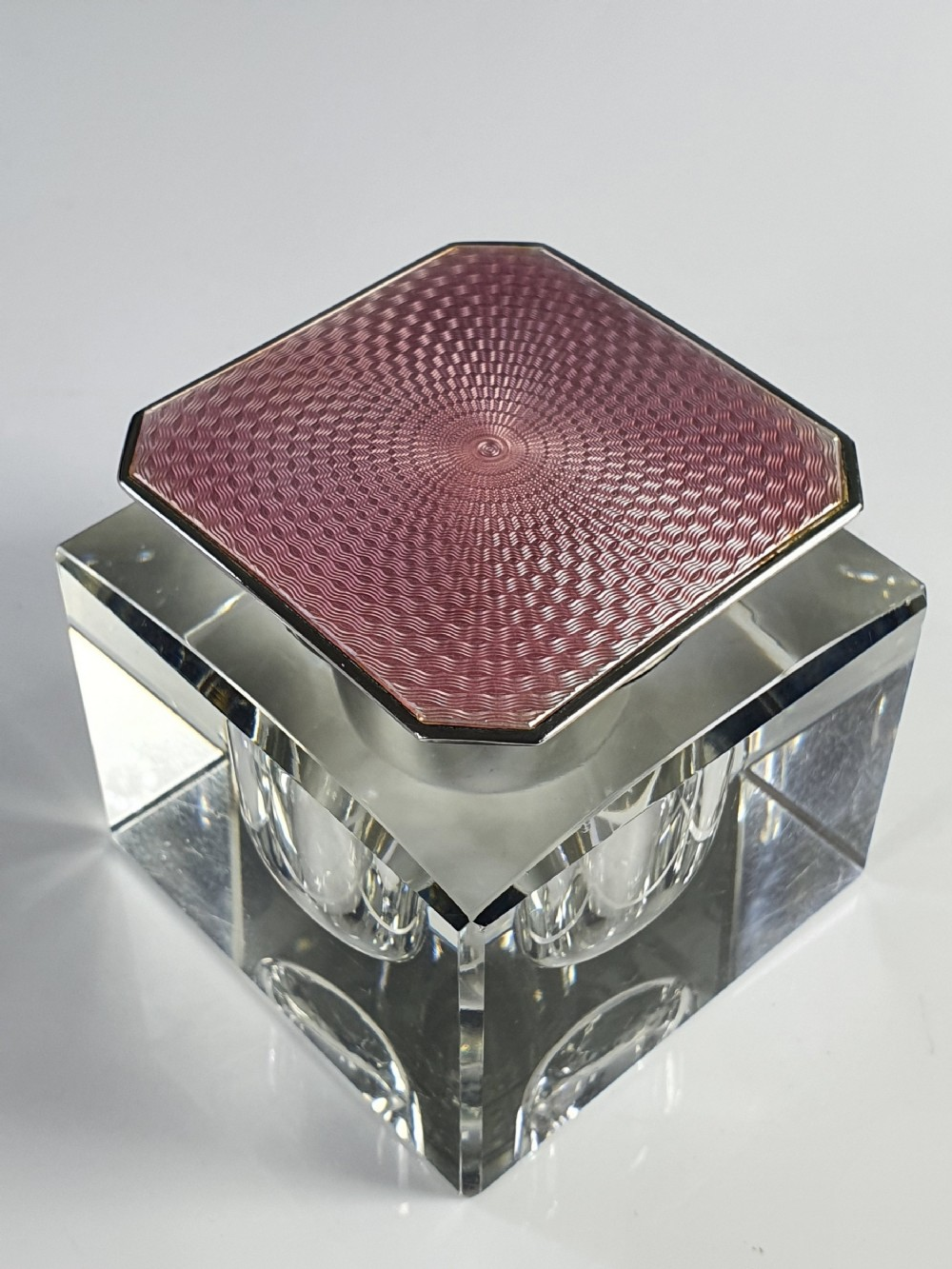 exquisite art deco guilloche pink enamel silver top cut glass inkwell birm 1929
