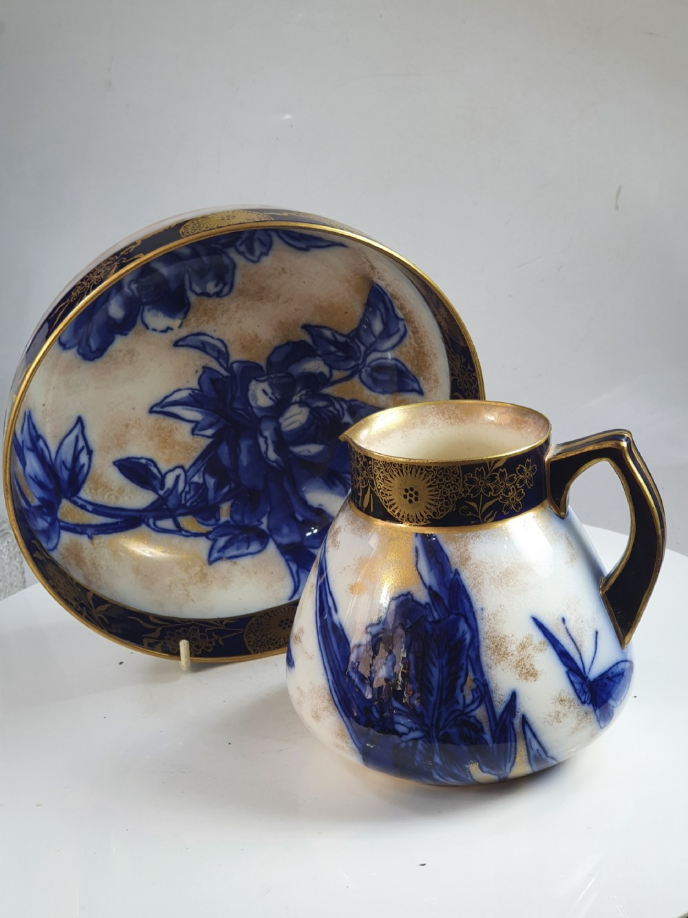 doulton burslem jug and matching bowl in the iris pattern excellent condition
