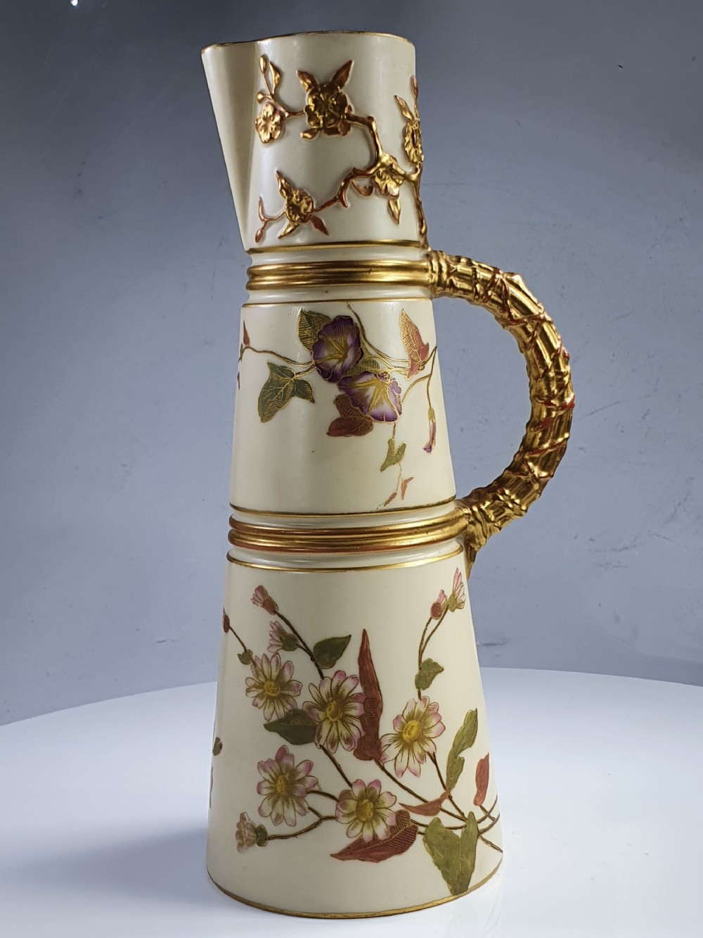 stunning quality royal worcester tall blush jug c1891