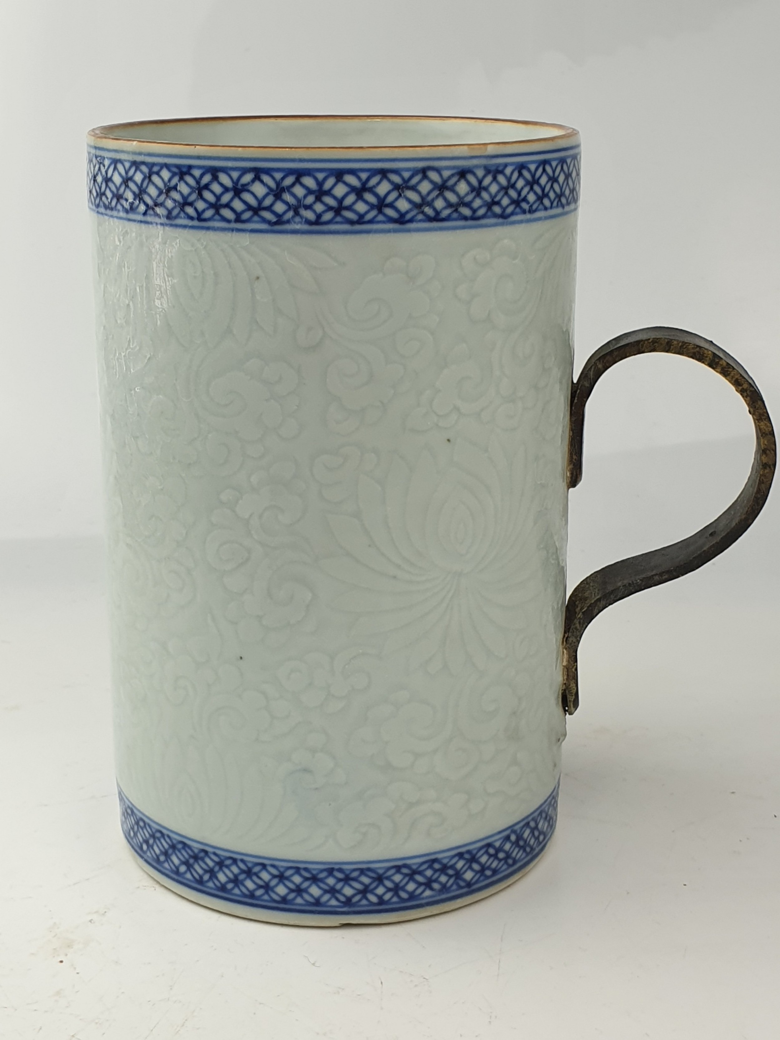 fine large celadon blue white chinese tankard 18th century