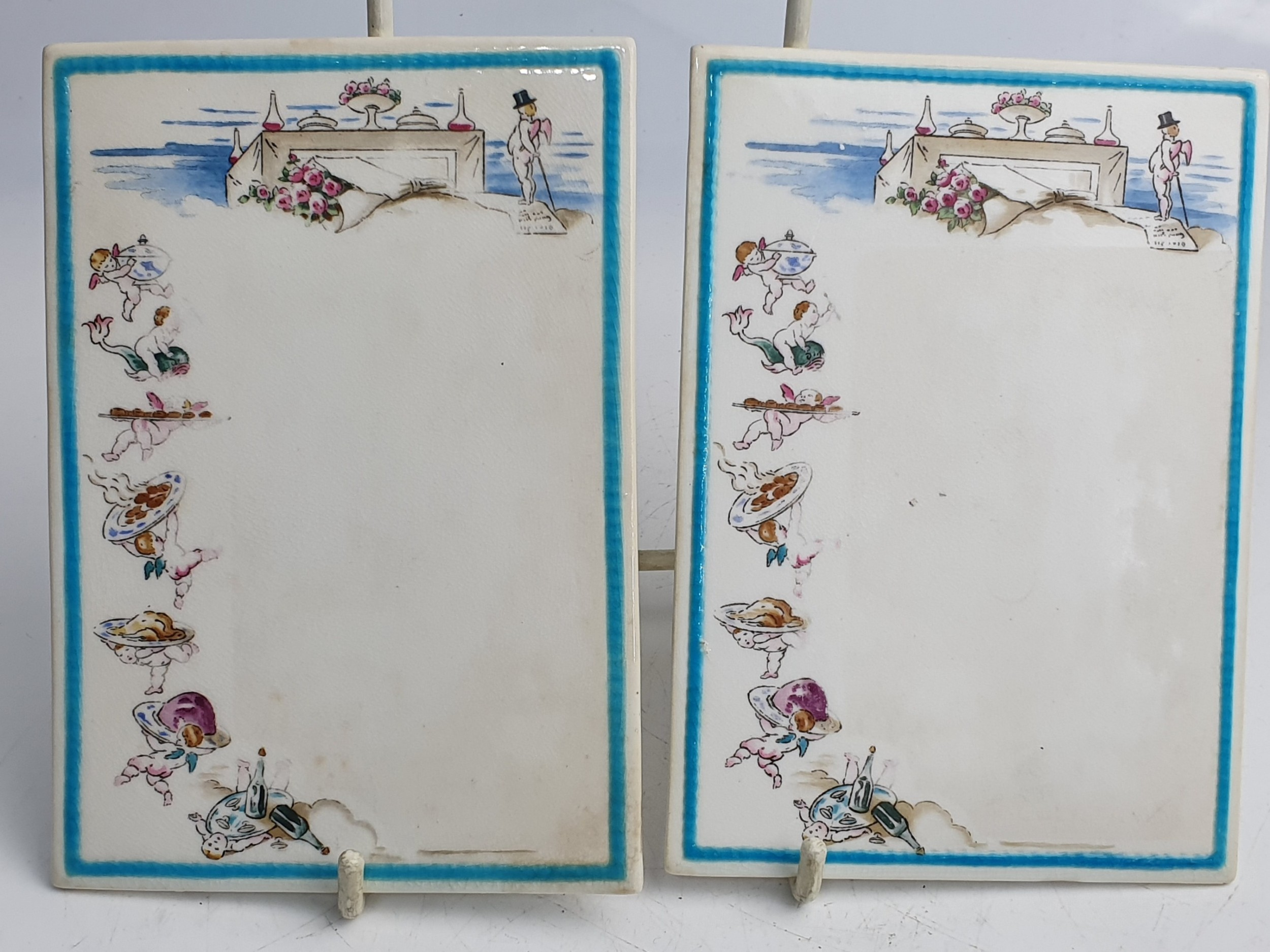 rare pair of mintons porcelain menu plaques c1880