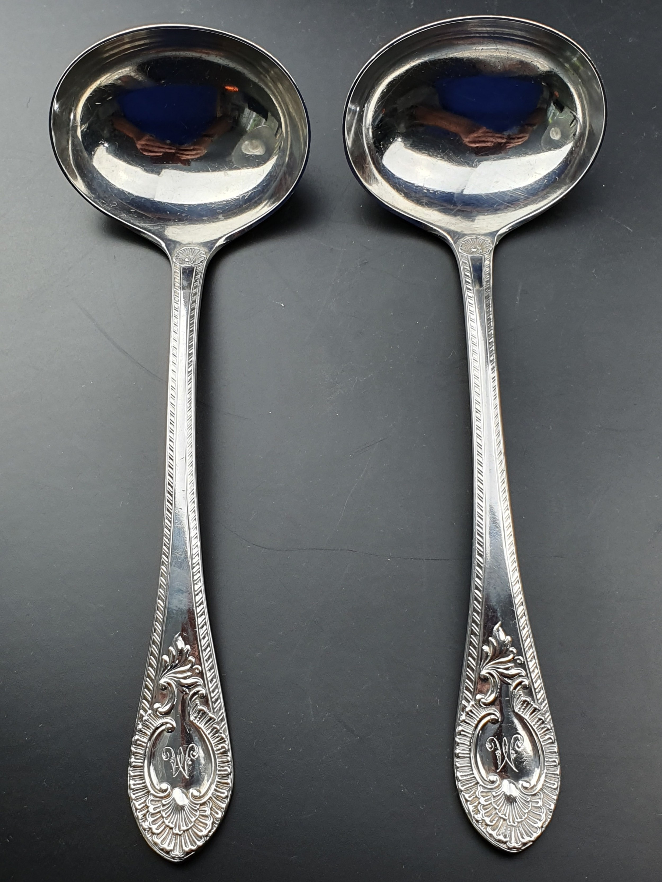 victorian pair of sterling silver heavy ladles martin hall 1894