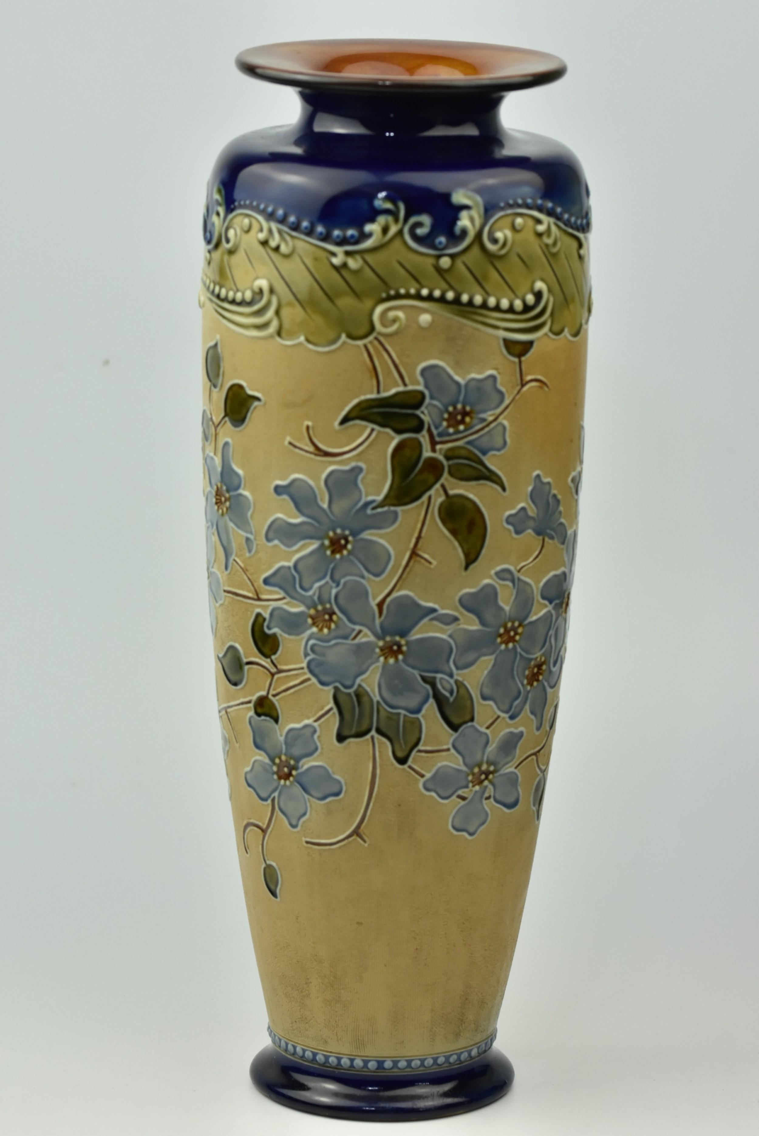 tall elegant royal doulton vase c1900