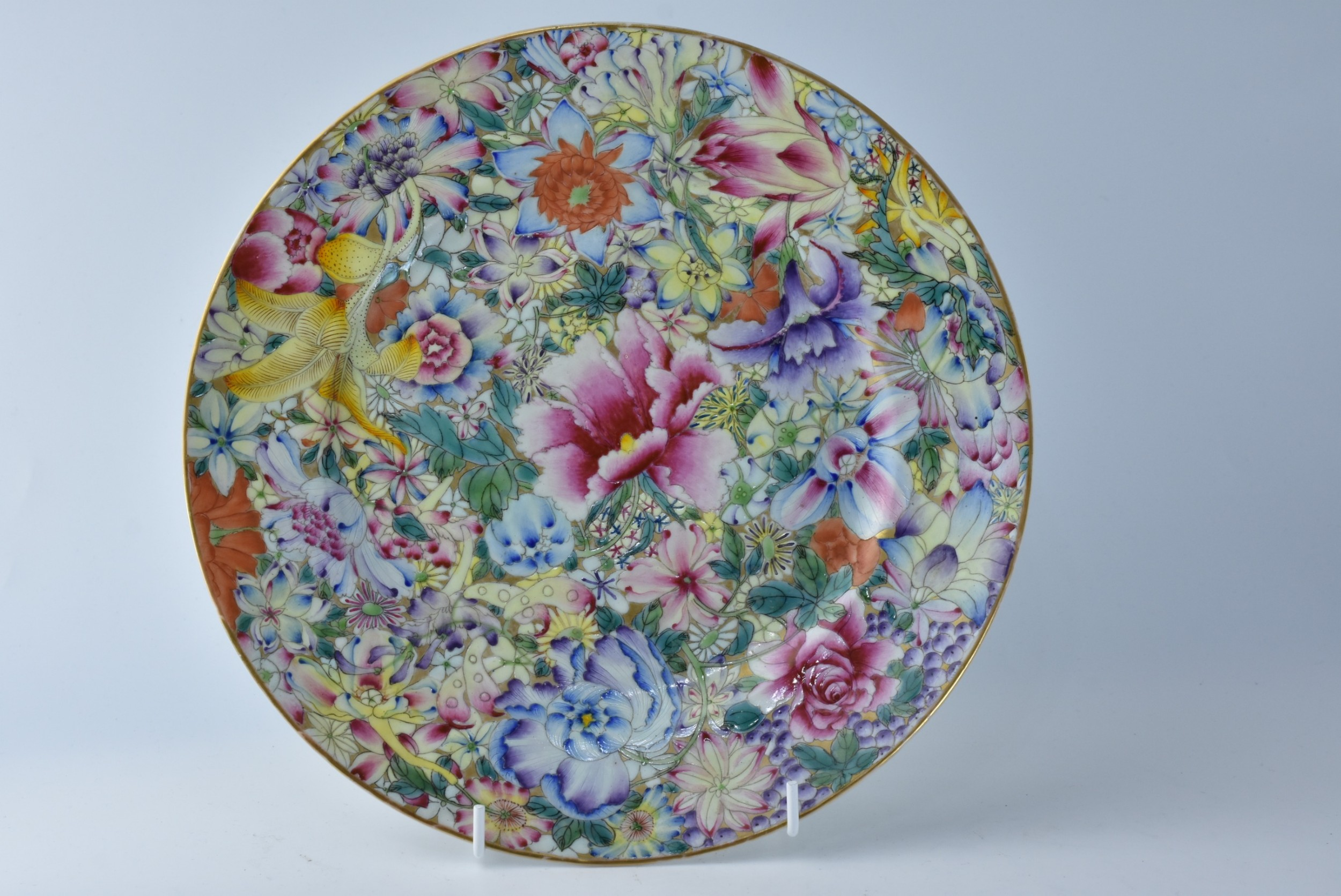 an exquisite chinese famille rose millefiori plate probably guangxu late 19thc