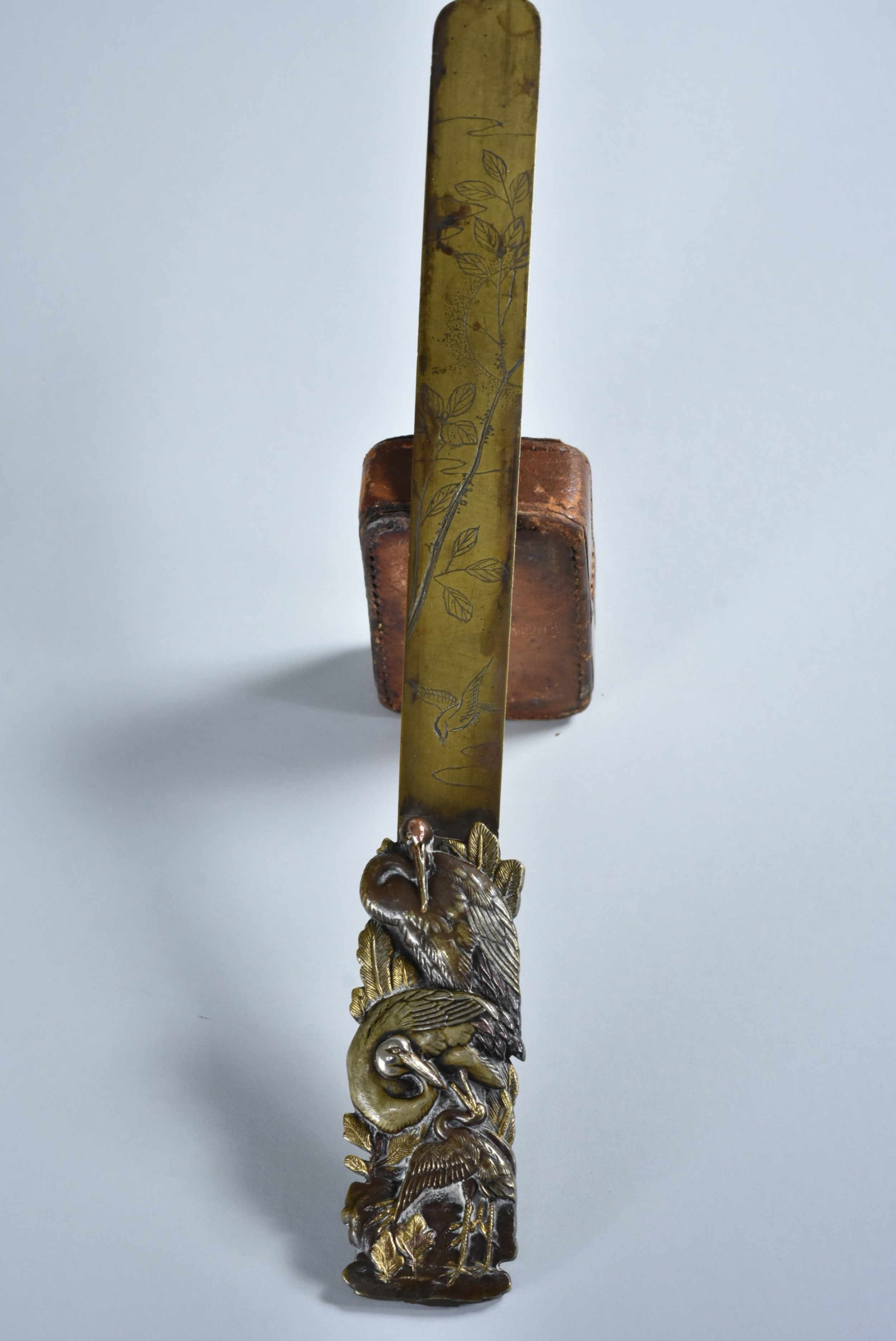 a late 19thcentury signed japanese mixed metals paper knife