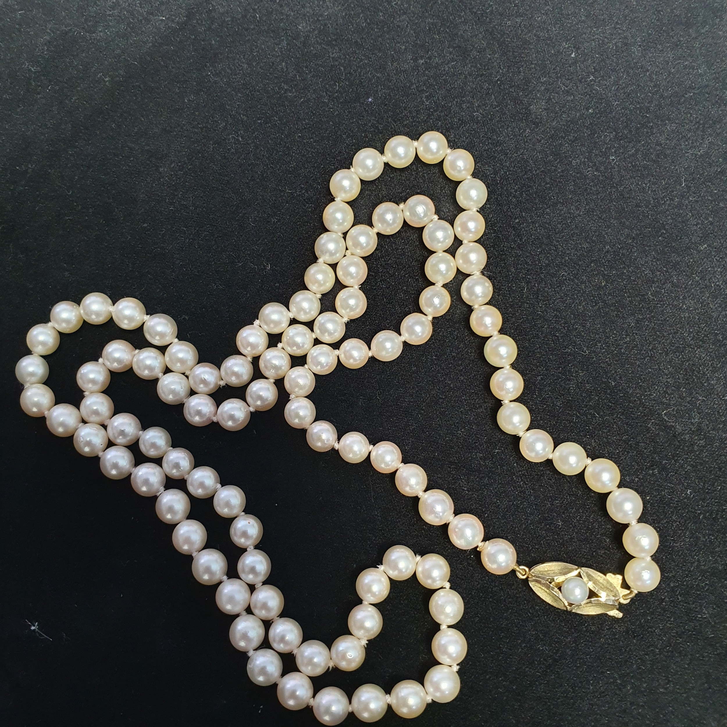 beautiful 27 vintage necklace cultured pearls with 9ct pearl set clasp