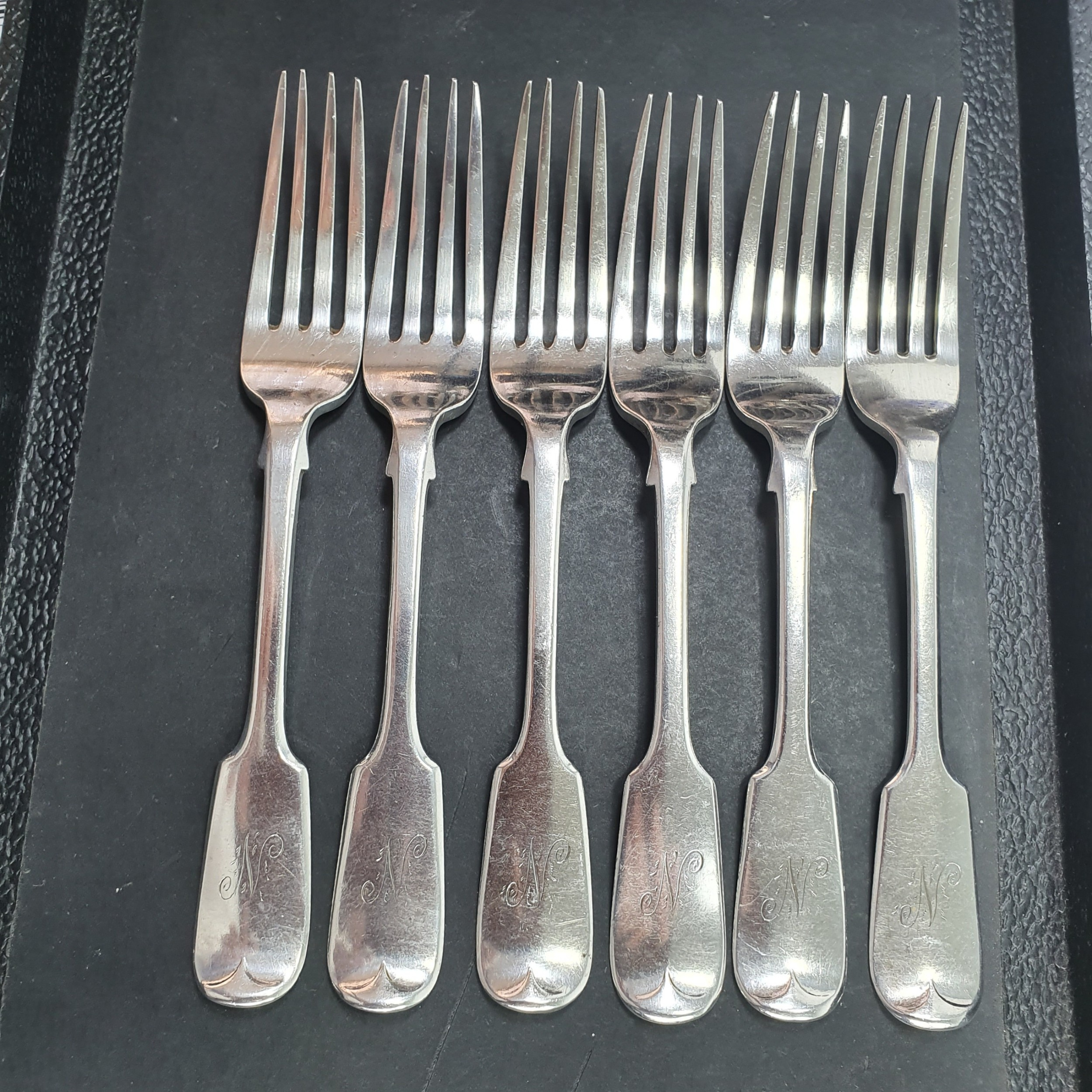 6 x english antique sterling silver dessert forks by stephen smith lon 1871