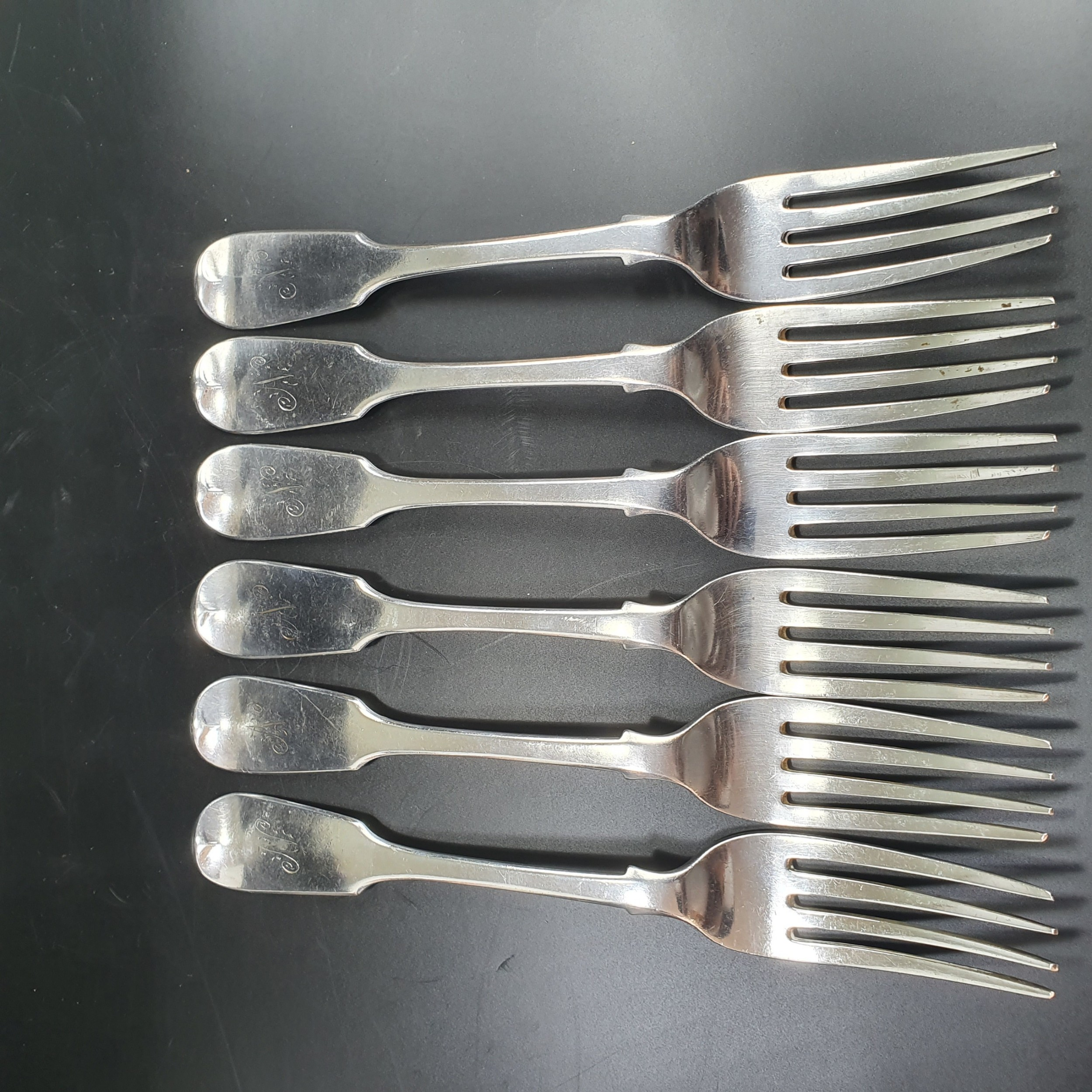 6 x english antique sterling silver dinner table forks by william eaton lon 1842