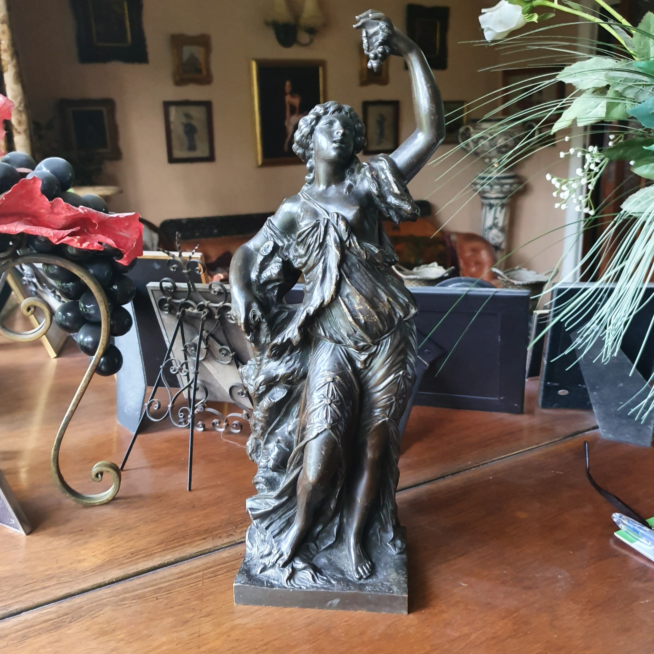 fine late large 19th french bronze maiden