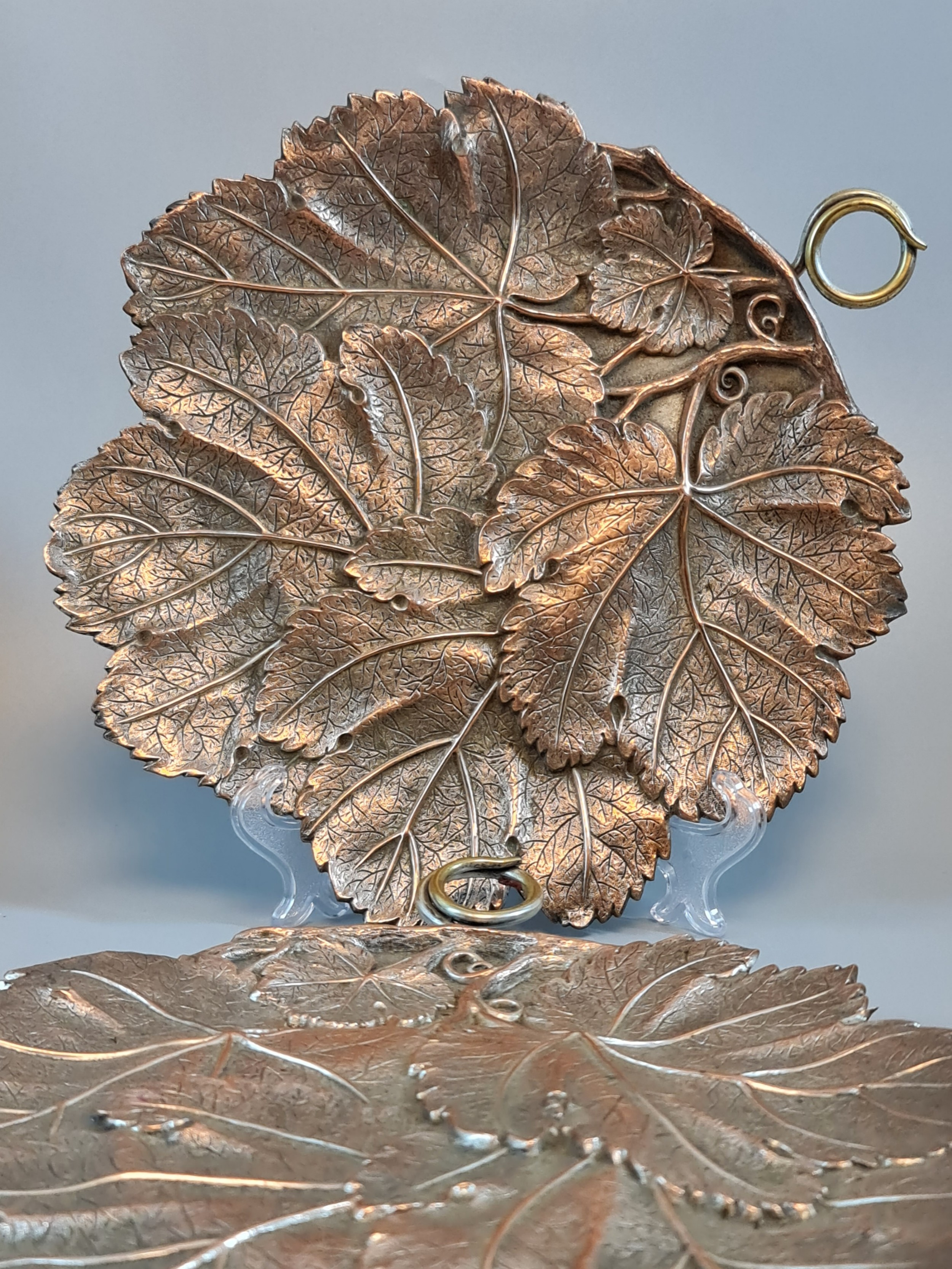 fabulous pair of arts crafts large copper brass leaf dishes