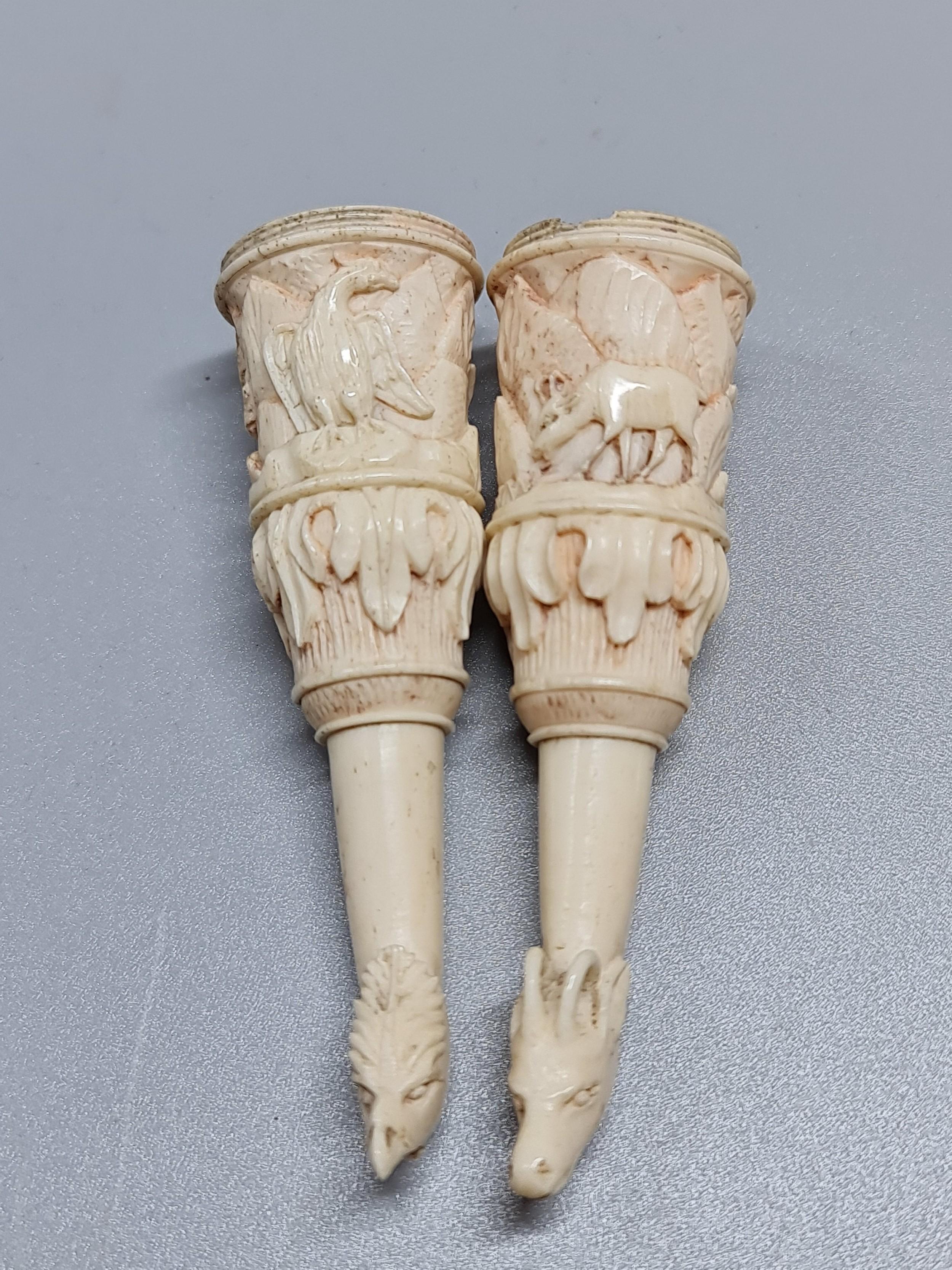 superbly carved 18thc bone snuff mullsvessels