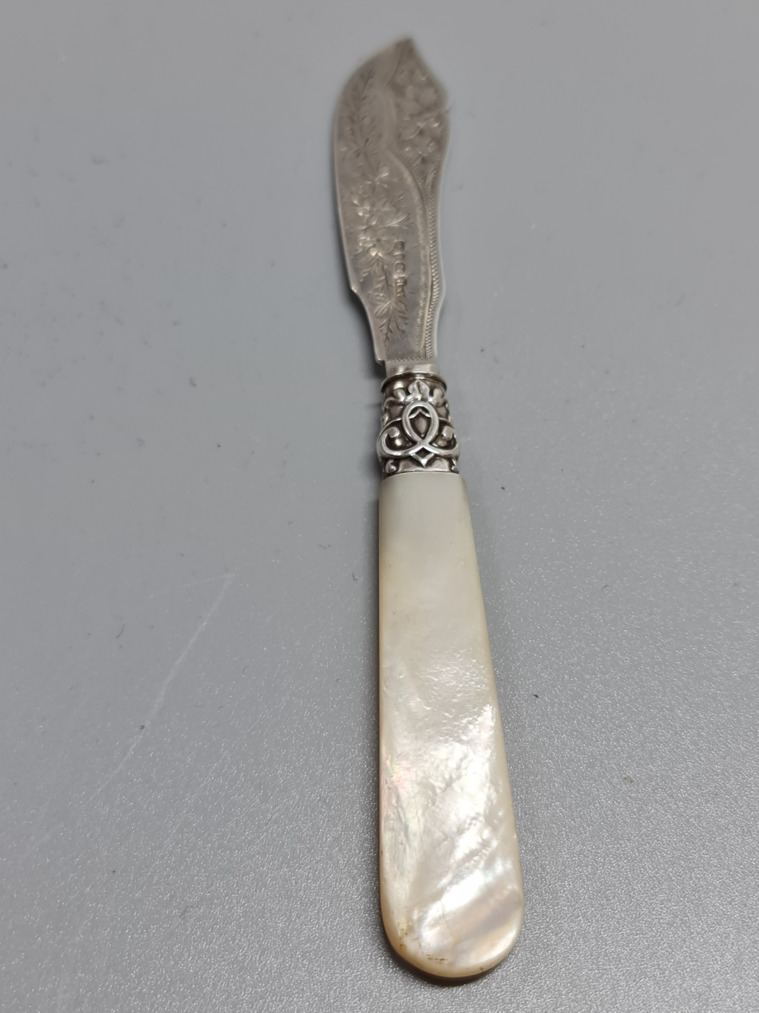 exquisite quality hm silver engraved butter knife with mop handle birm 1890