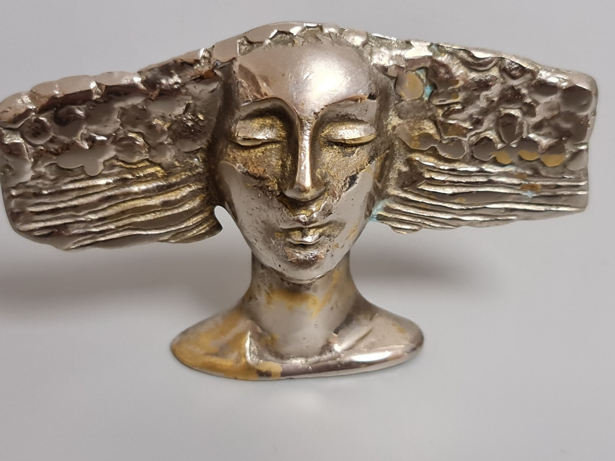 interesting signed art deco plated brass stylised head unusual piece c1930