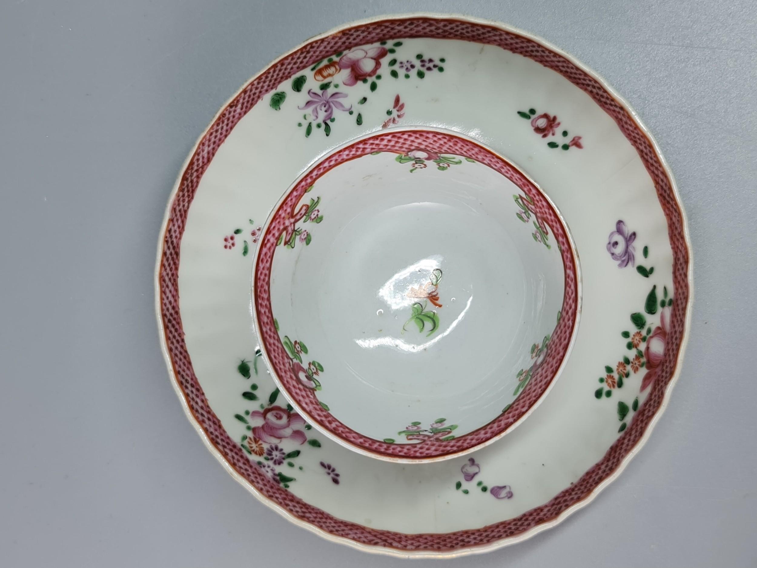 large beautiful 18thc tea bowl saucer
