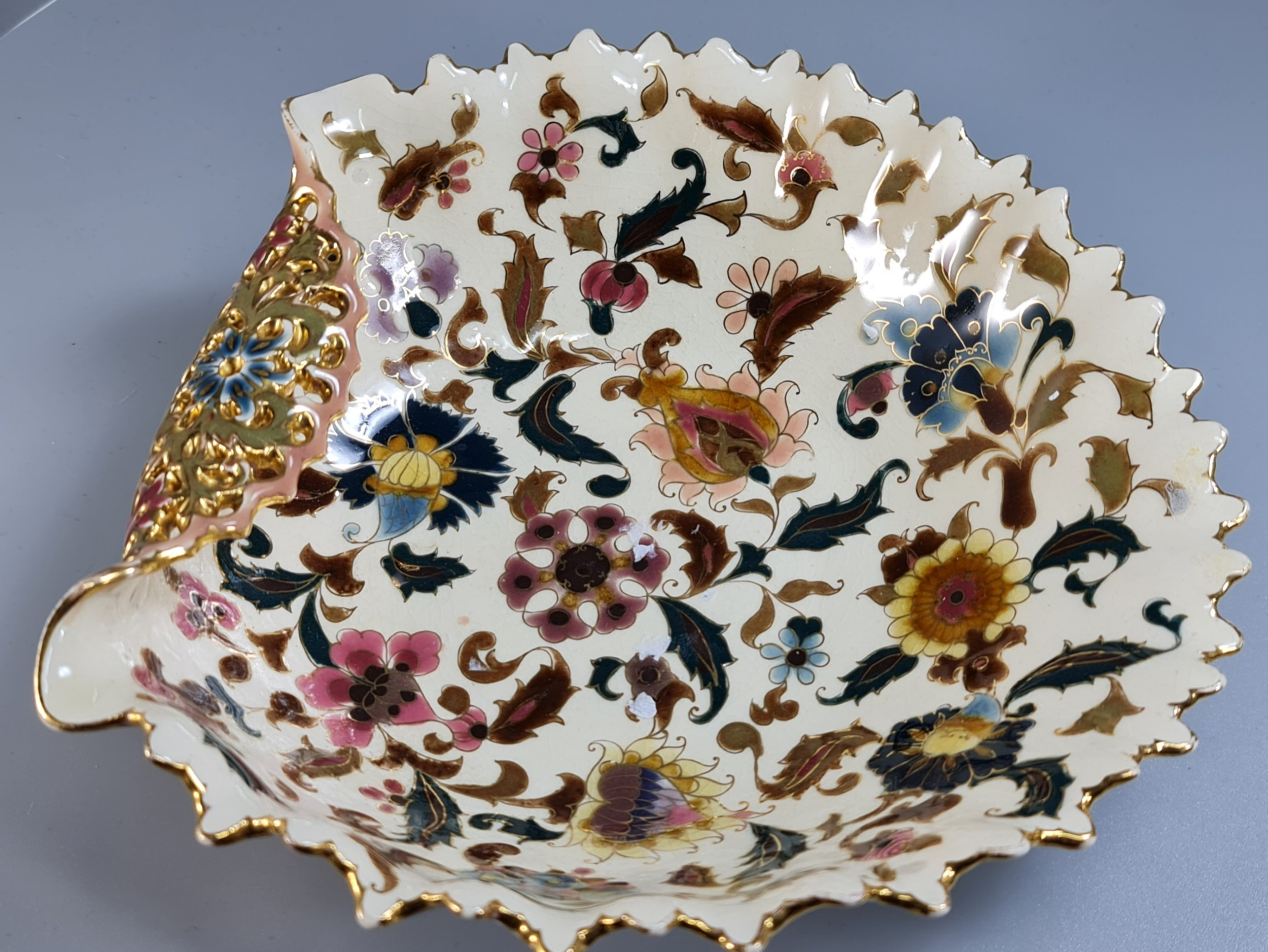 attractive zsolnay pecs antique shaped dish of 'islamic' interestdesign